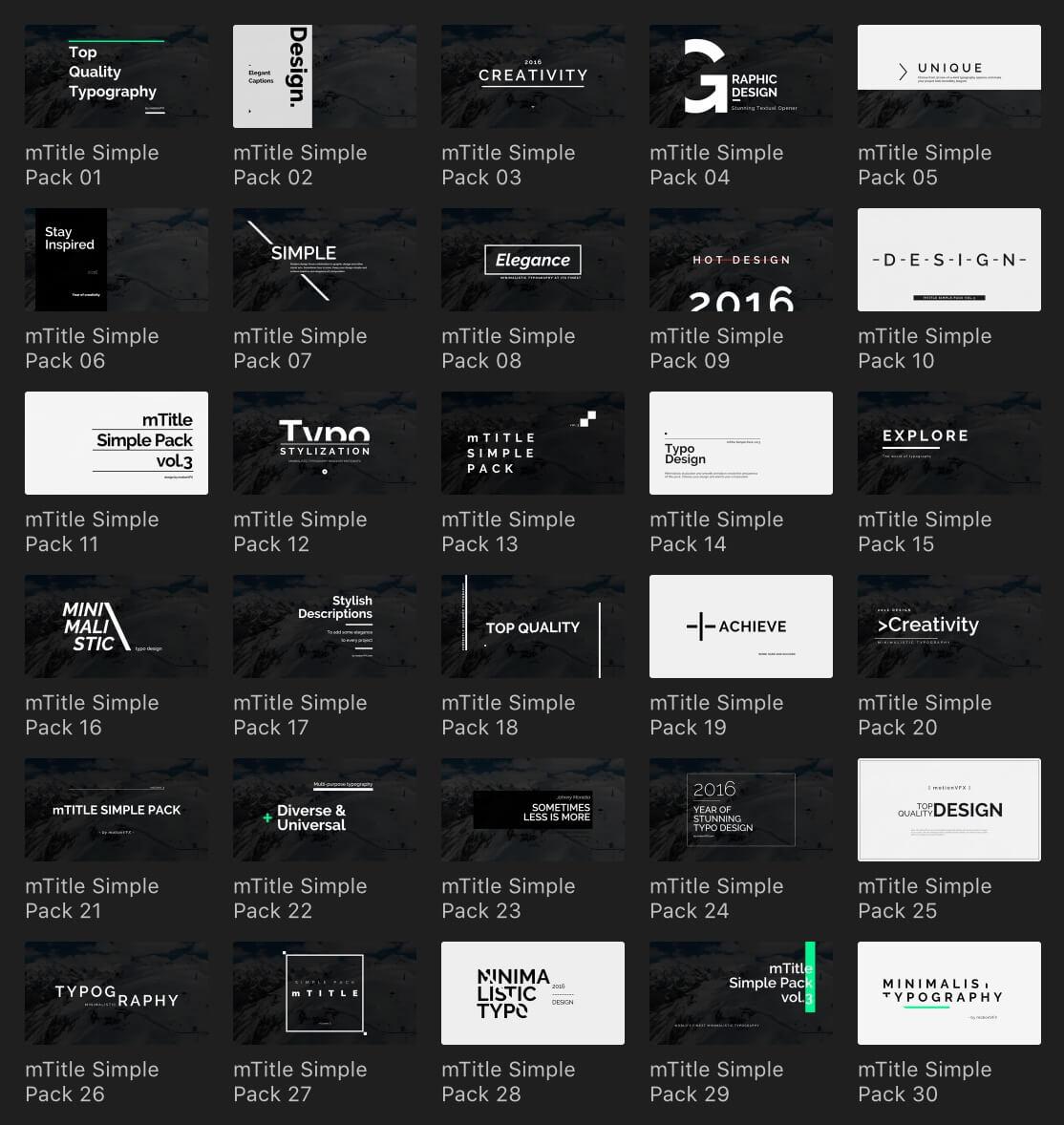 fcpx插件 30种时尚简约设计文字标题动画 支持M1 mTitle Simple Pack 3
