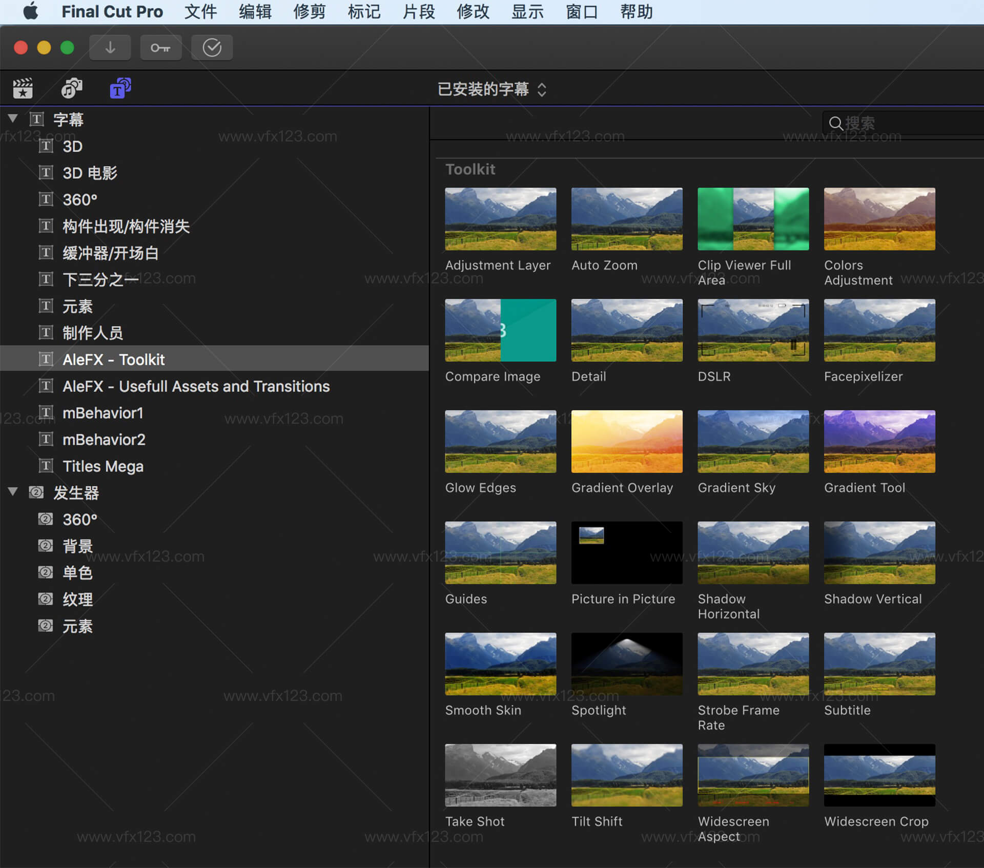 FCPX Assets Toolkit and Transitions FCPX超强工具包和转场集合