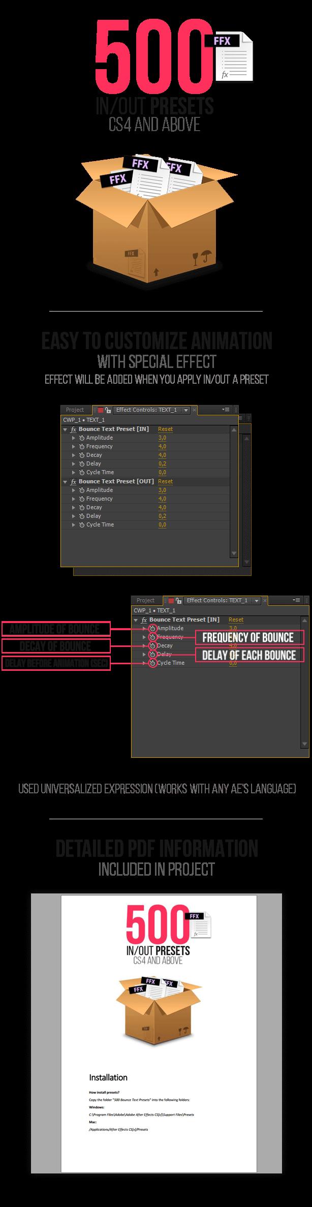 Bounce Text Presets 弹跳缓入缓出MG动画文字标题预设