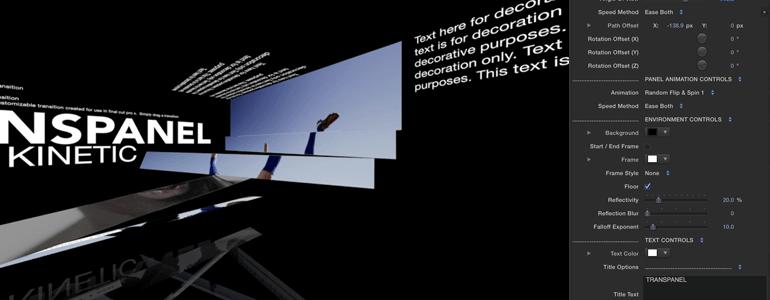 TransPanel Kinetic 高级动态面板图文翻转动画 FCPX转场插件