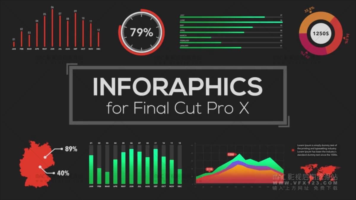 Infographics Builder 信息数据图表展示预设动画 FCPX插件