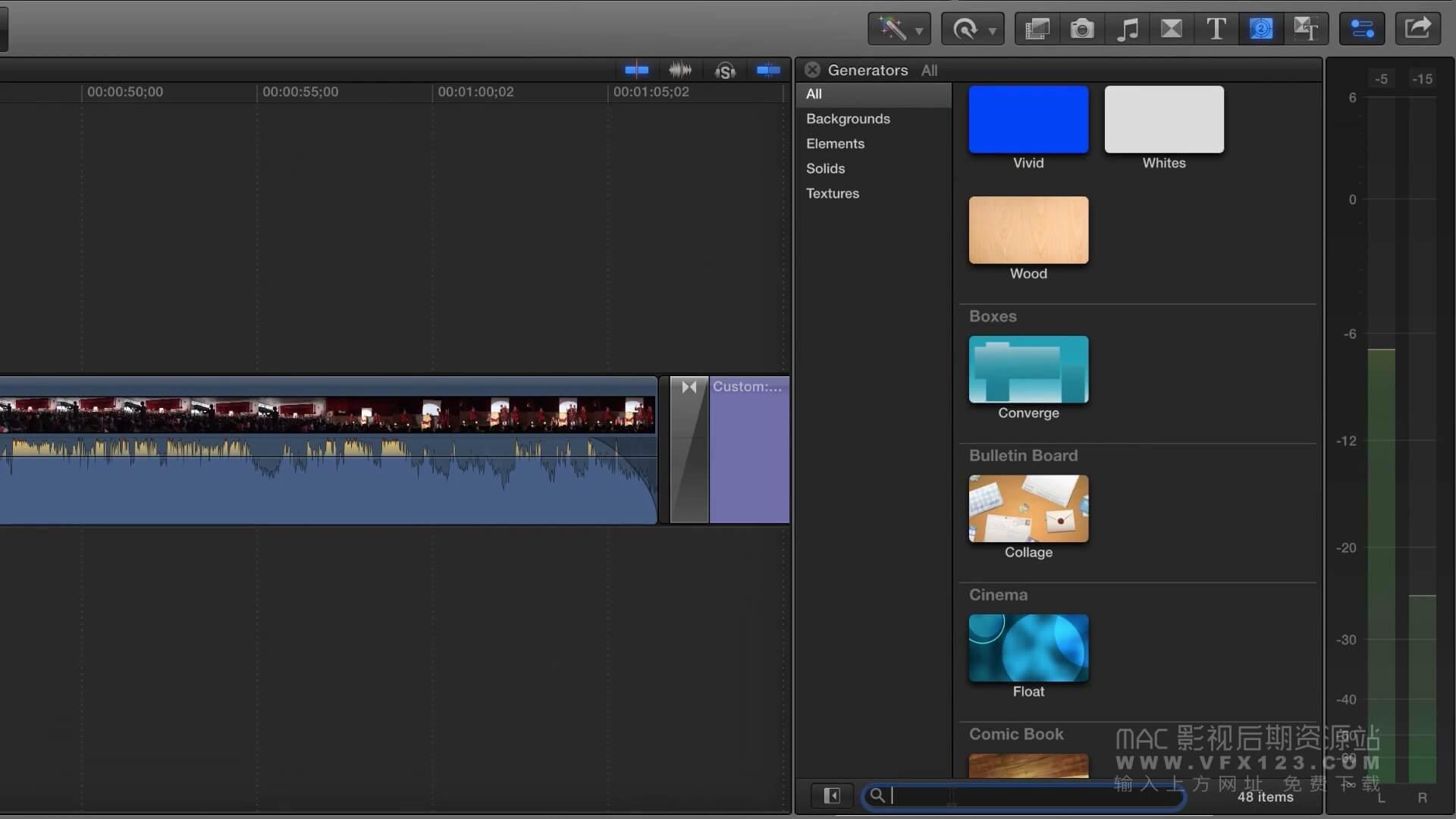 第17课: 如何使用Final Cut Pro X的内建素材工具(发生器) ?