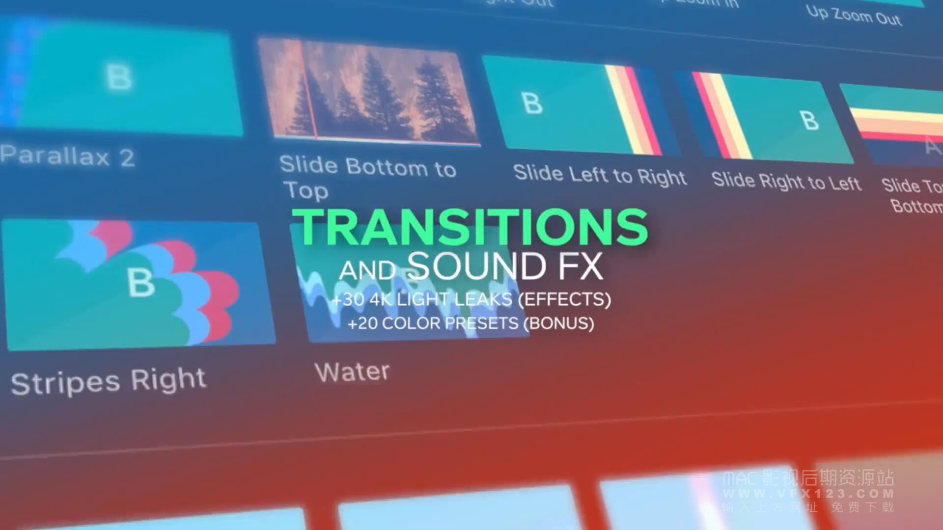 FCPX冲击缩放平移滑动扭曲水墨炫光转场插件 含音效素材(286个)