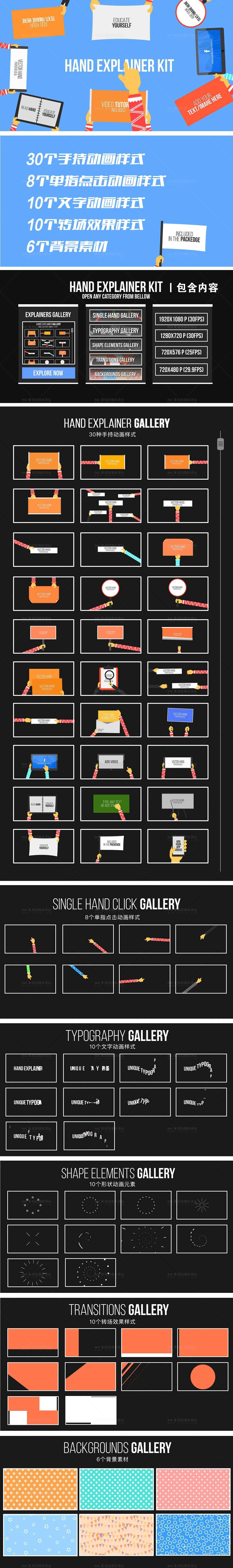 卡通人物手持画板MG动画 Hand Explainer Kit AE模板