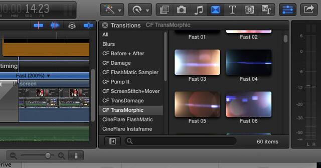 FCPX镜头光晕转场插件 60种高质量炫光转场 CineFlare TransMorphic