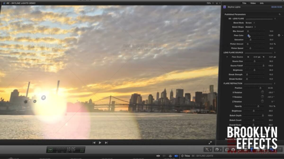FCPX自定义耀斑光晕工具插件 BE-Skyline Lights 免费下载