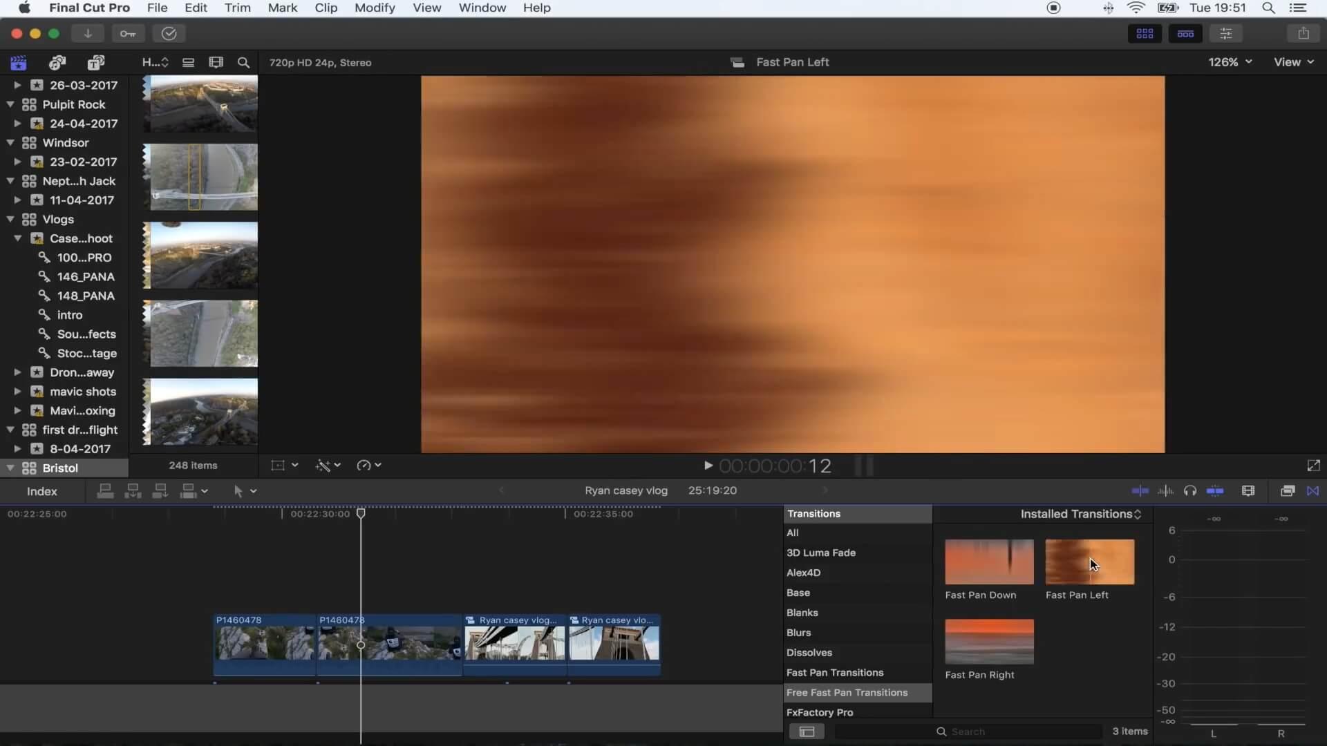 FCPX快速平移转场插件 Vlog常用转场效果插件