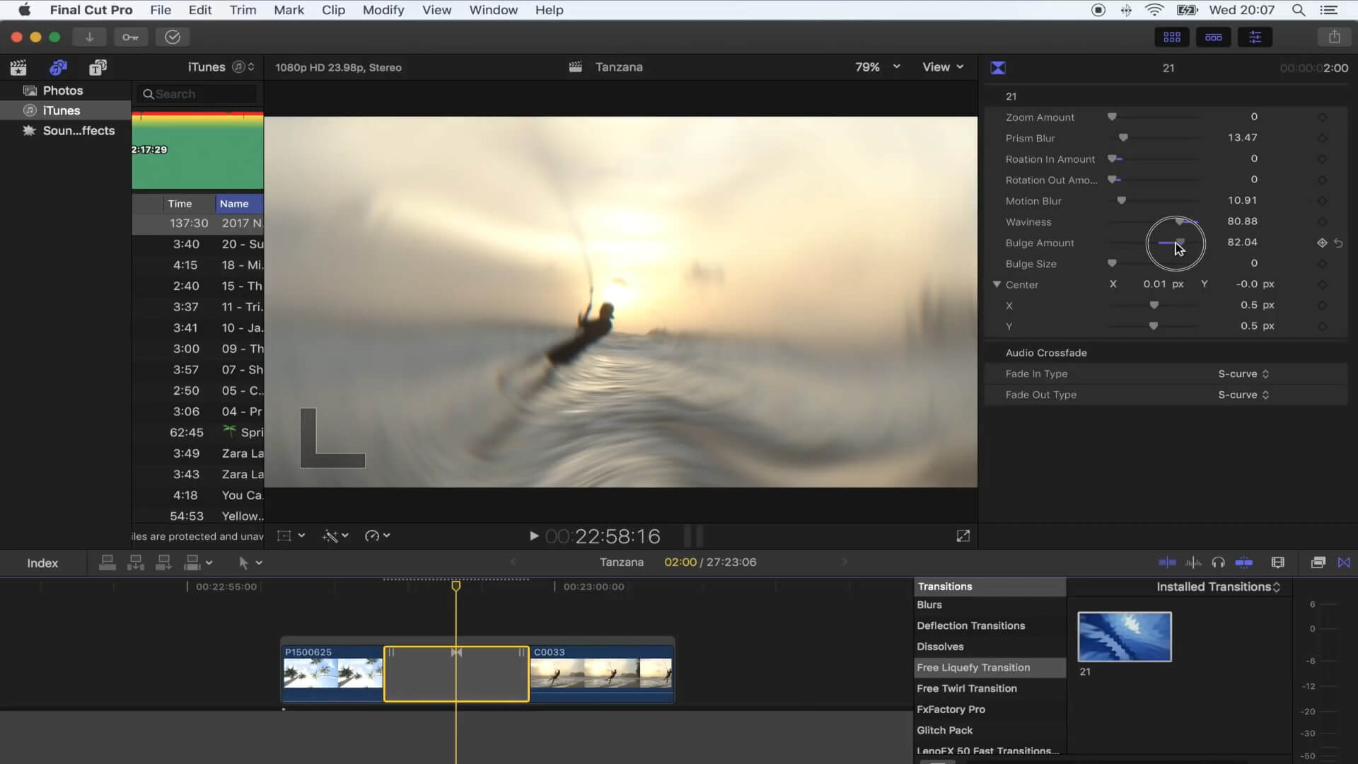 FCPX液化溶解转场效果插件 Vlog常用流行转场