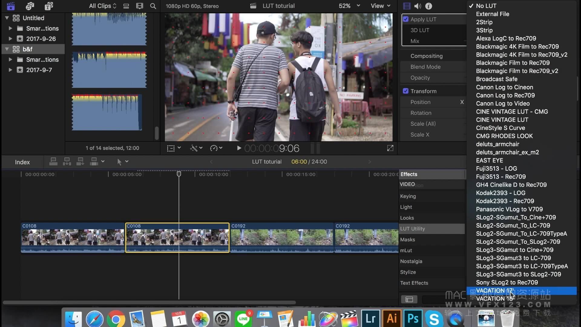怎样在影片中使用LUT调色 FCPX中文调色教程
