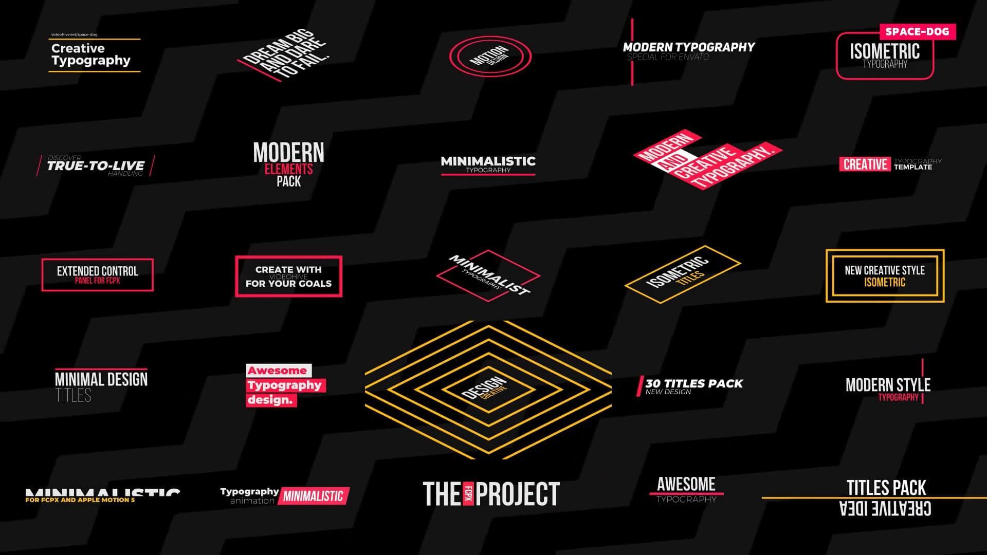 FCPX插件 30个创意文字标题排版设计动画 Final Cut Pro X