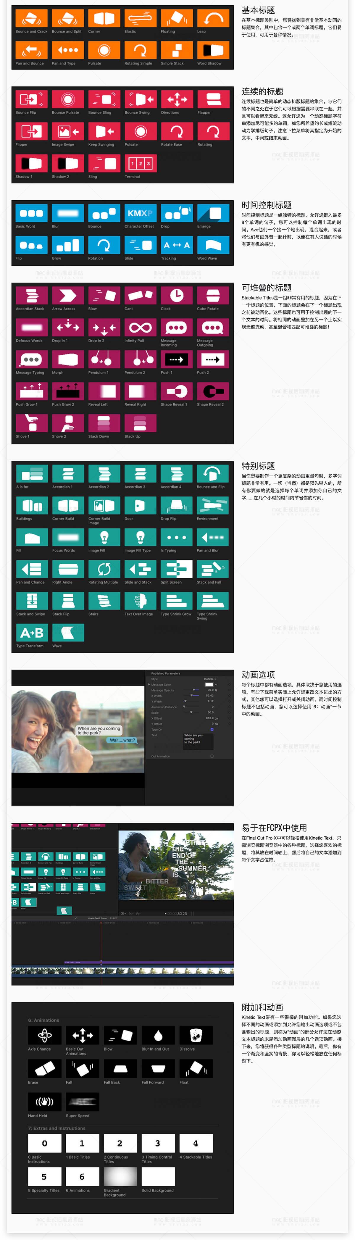 FCPX文字标题工具包 CineFlare KineticText 2.0