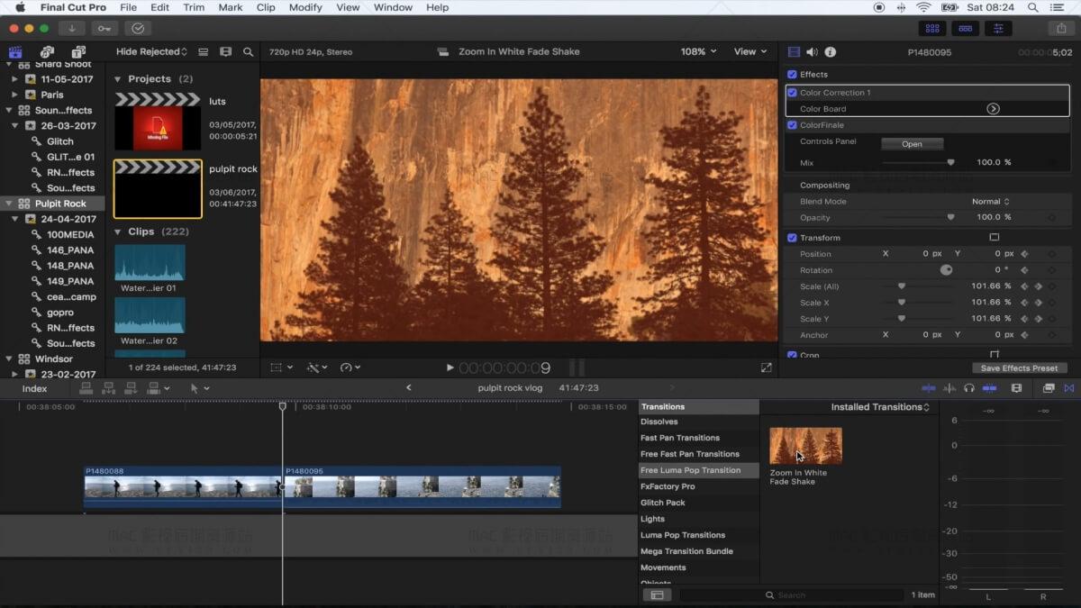 FCPX快速移动交叉叠化转场插件 Vlog常用效果插件