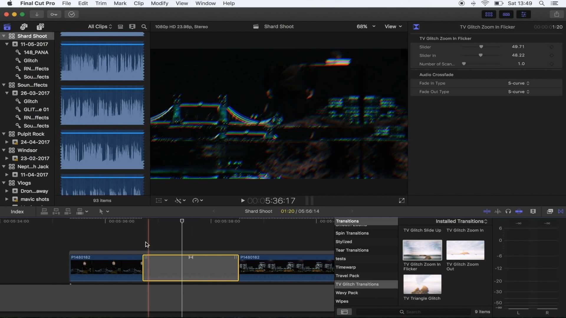 fcpx转场插件 电视信号干扰效果 vlog常用流行转场