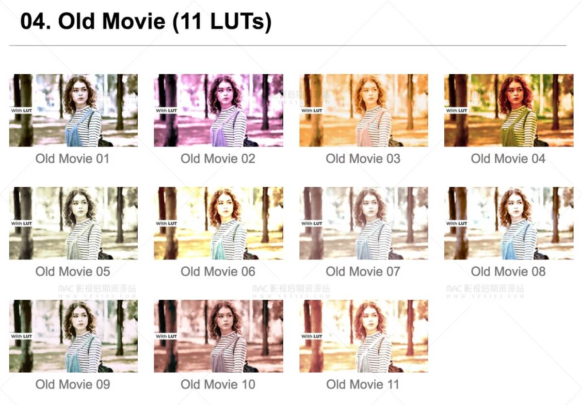 120+LUTS精品调色预设 7分类电影手机短视频旧电影婚礼MV黑白