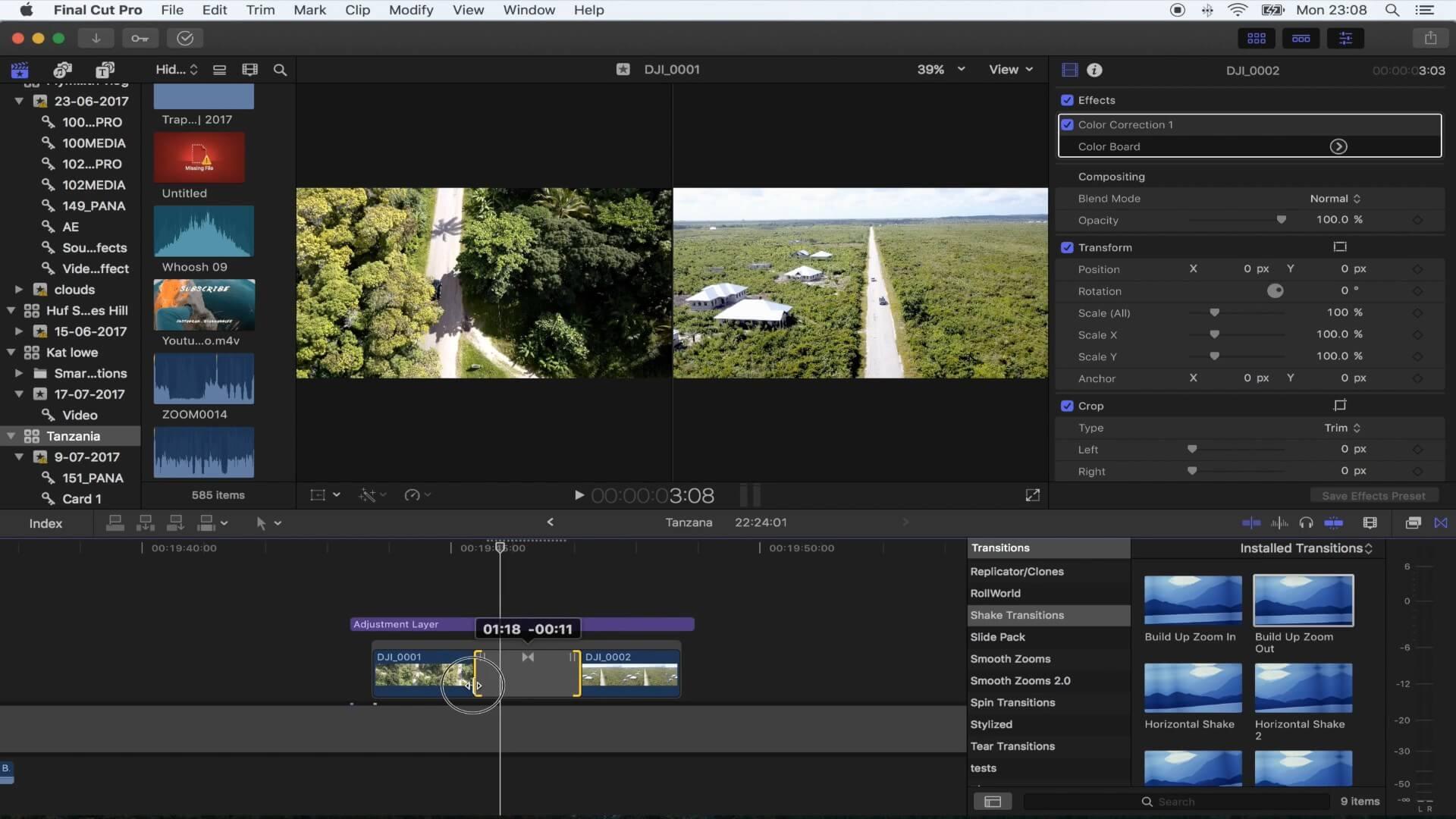 FCPX摇晃抖动转场插件 Vlog常用转场 适用旅拍运动类等
