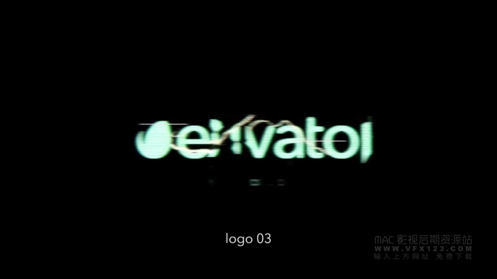 Fcpx主题模板 信号失真故障干扰LOGO展示 motion模板 Glitch Logos