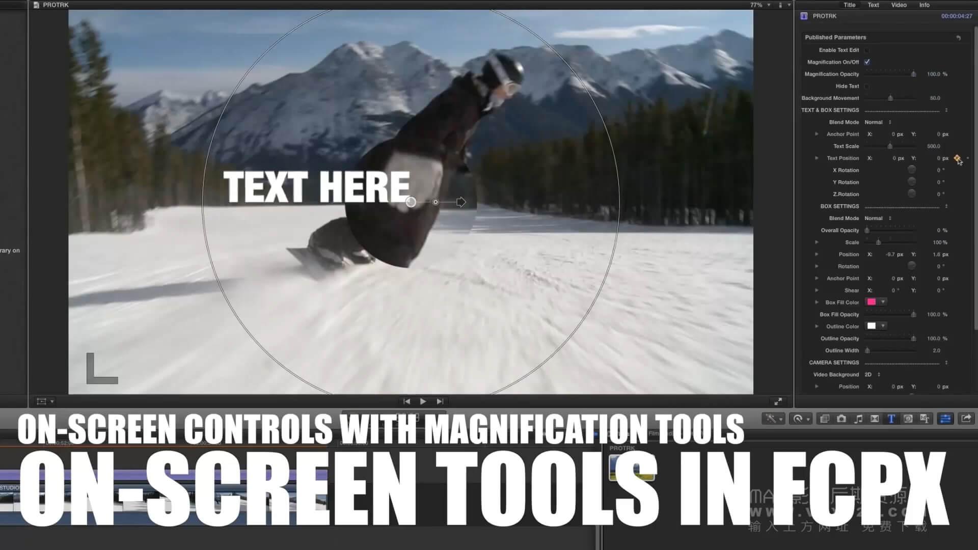 fcpx字幕插件 文字标题跟踪插件 ProTRK Pixel Film Studios