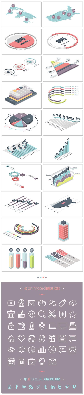 Ae模板 3d信息图表 柱状图饼状图轴测图数据波形图等 Infographics