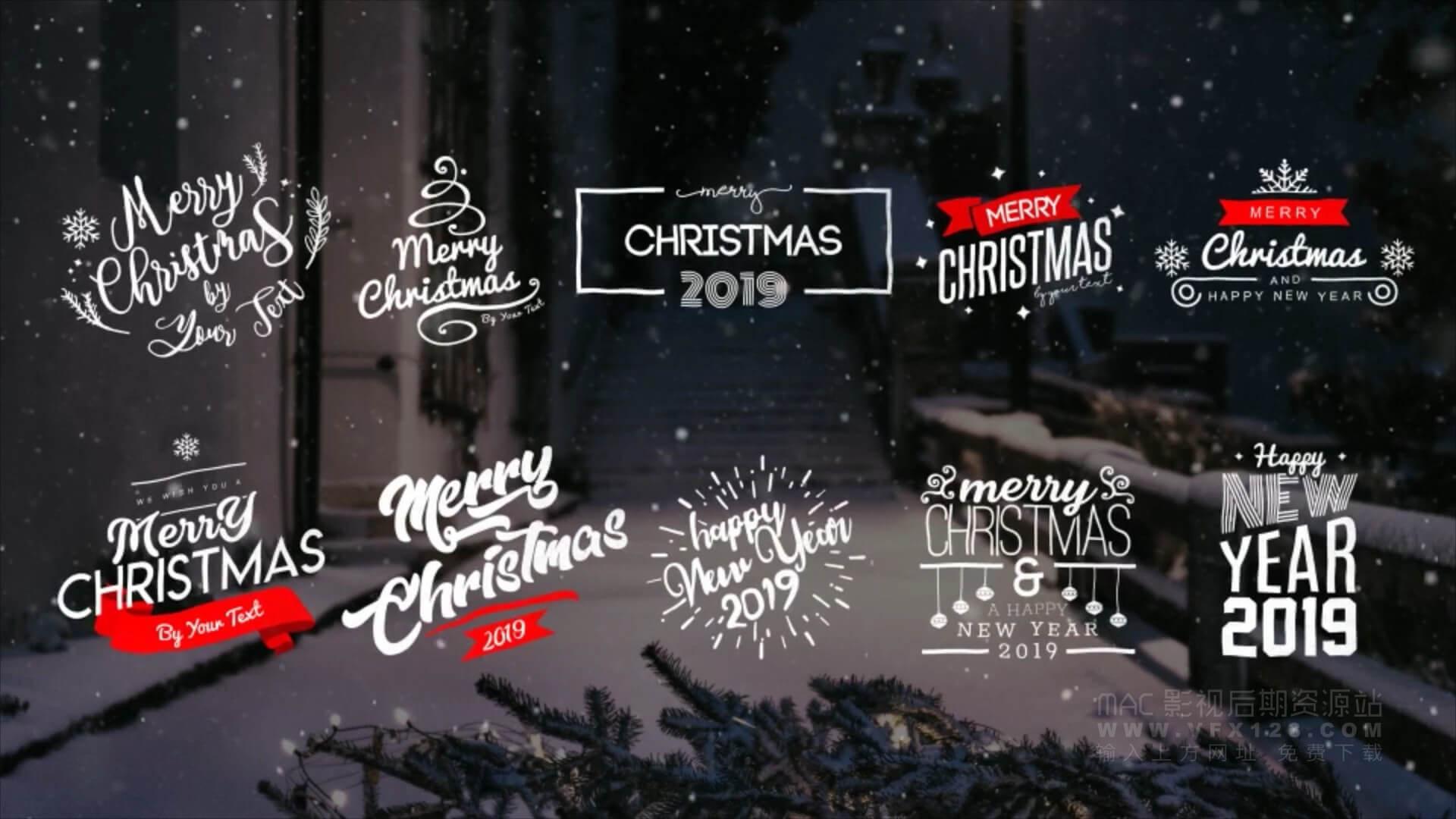 Ae模板 10个2019年圣诞节标题排版动画 christmas titles