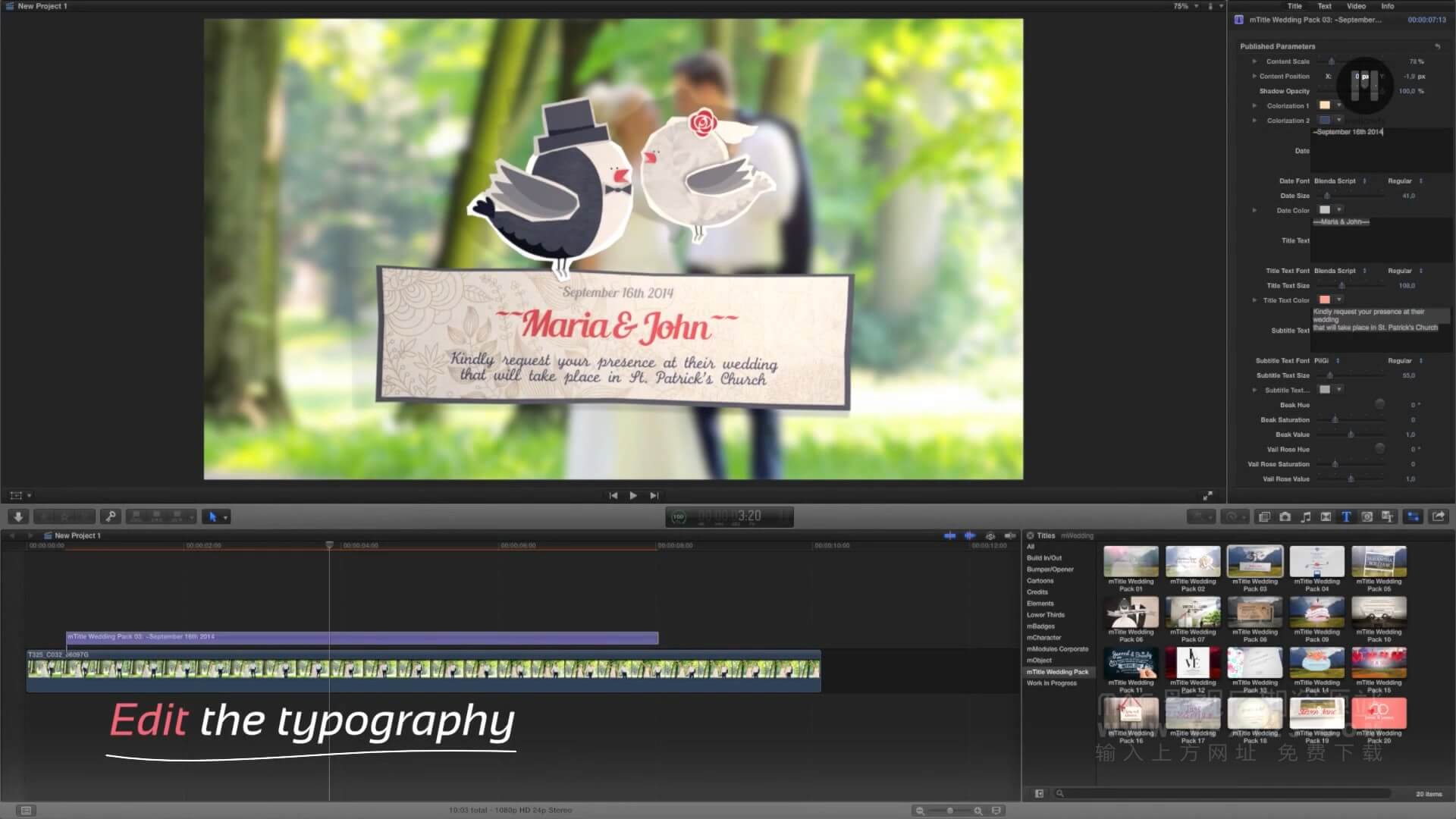 fcpx插件 20个浪漫婚礼标题文字动画模板 mTitle Wedding Pack