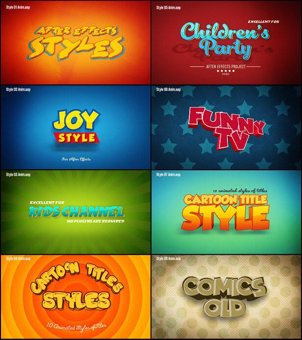 Ae模板 15个卡通标题+8个预制动画场景 Cartoon Titles Styles