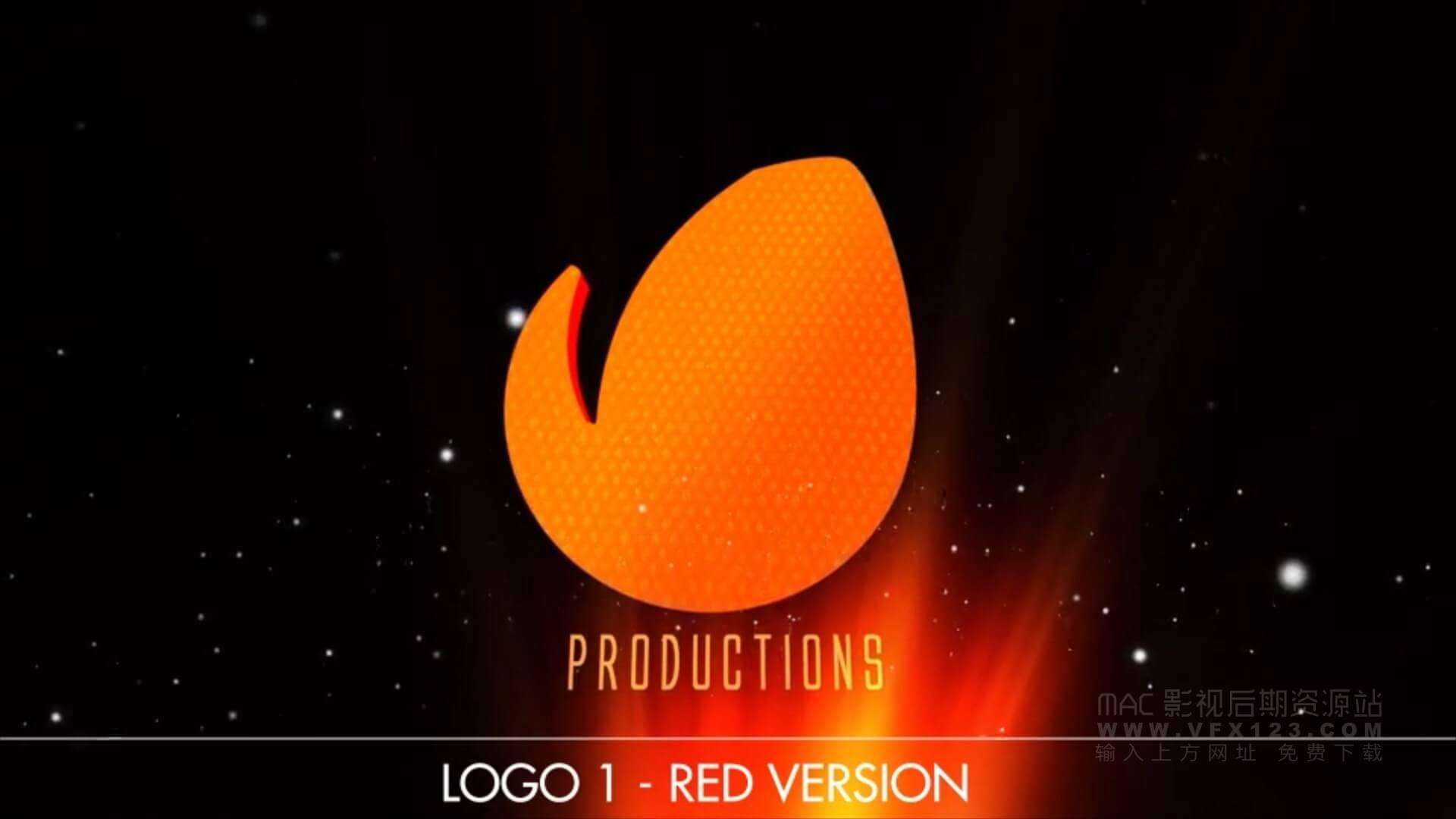 motion模板 电影徽标LOGO展示 胶片复古光芒效果