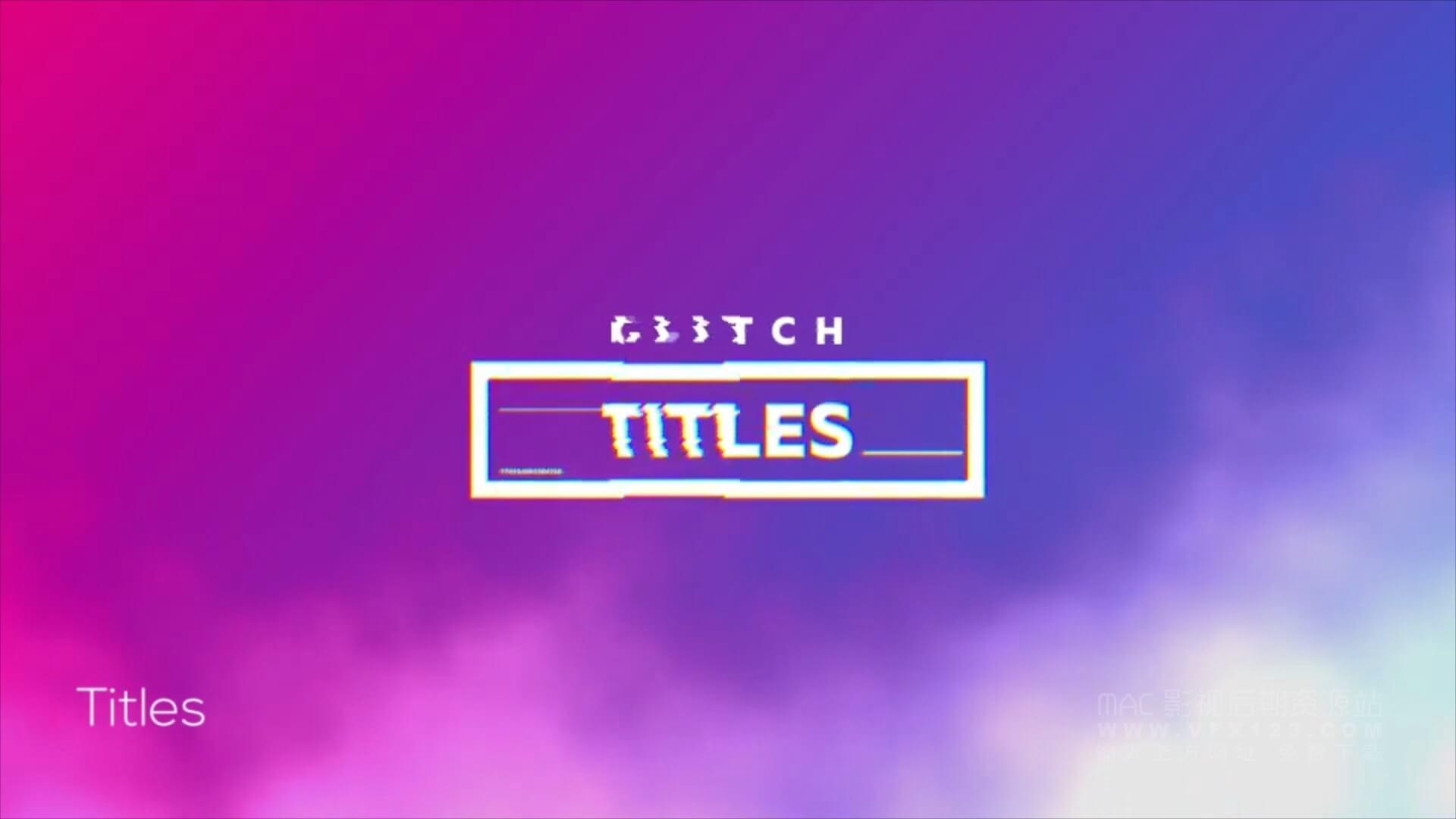 motion模板 信号故障干扰风格自媒体包装模板 Glitch Youtube Channel Kit