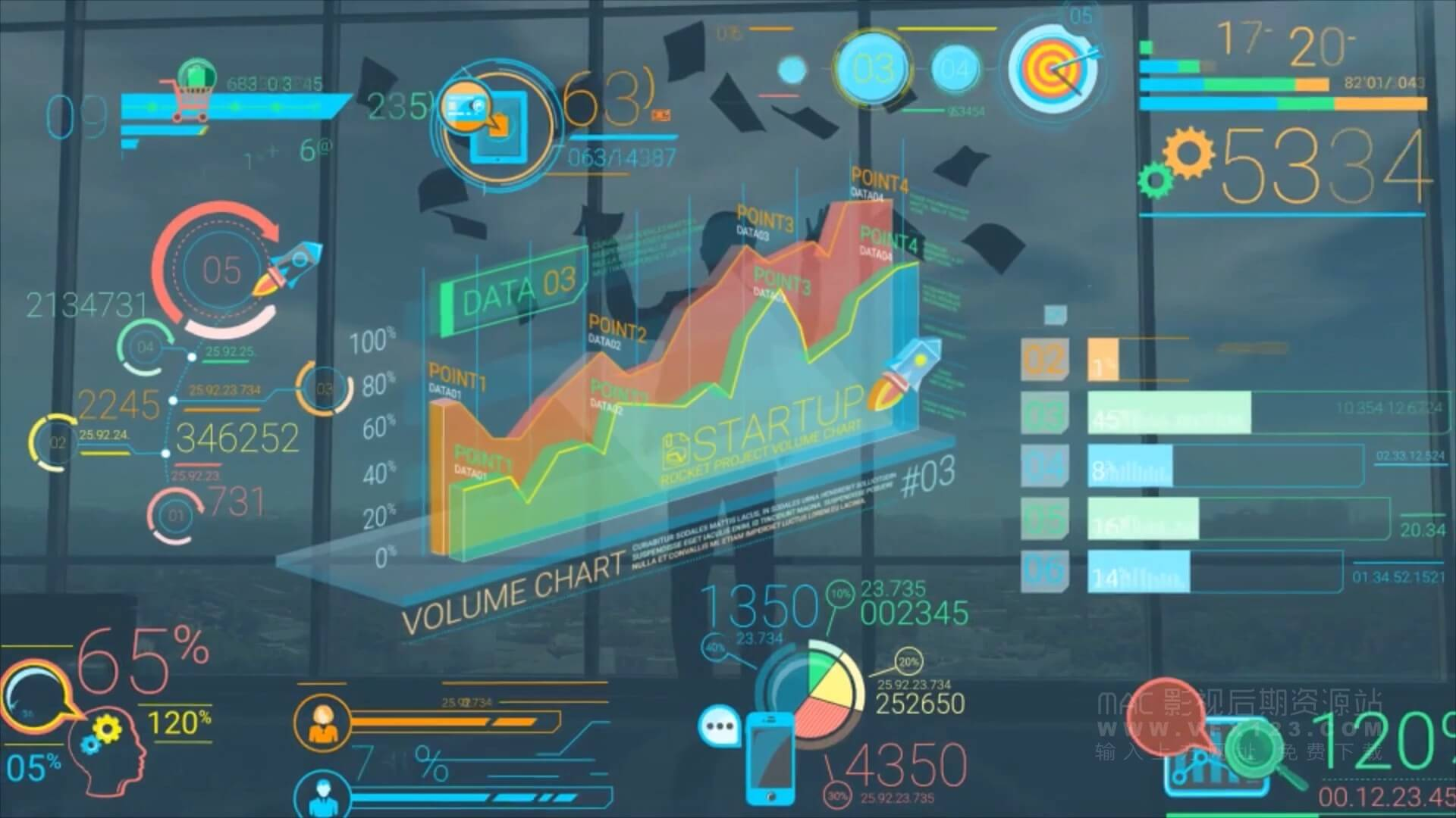 Ae模板 彩色公司商务信息图表集合 Colorful Corporate Infographic Elements