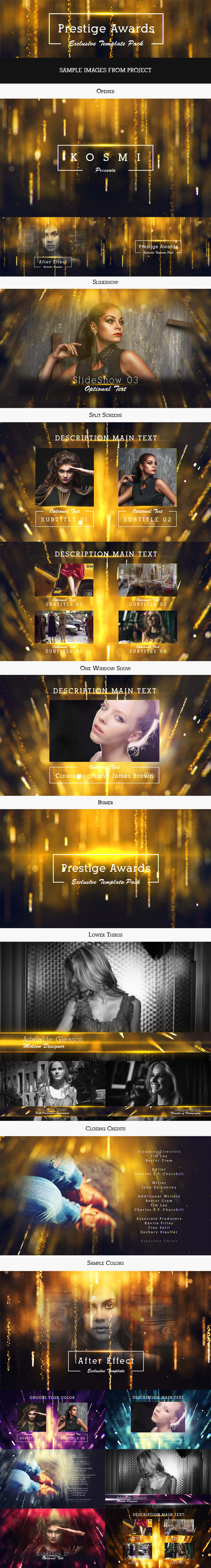 Ae模板 2019年会颁奖典礼提名奖项婚礼活动素材包 Prestige Awards