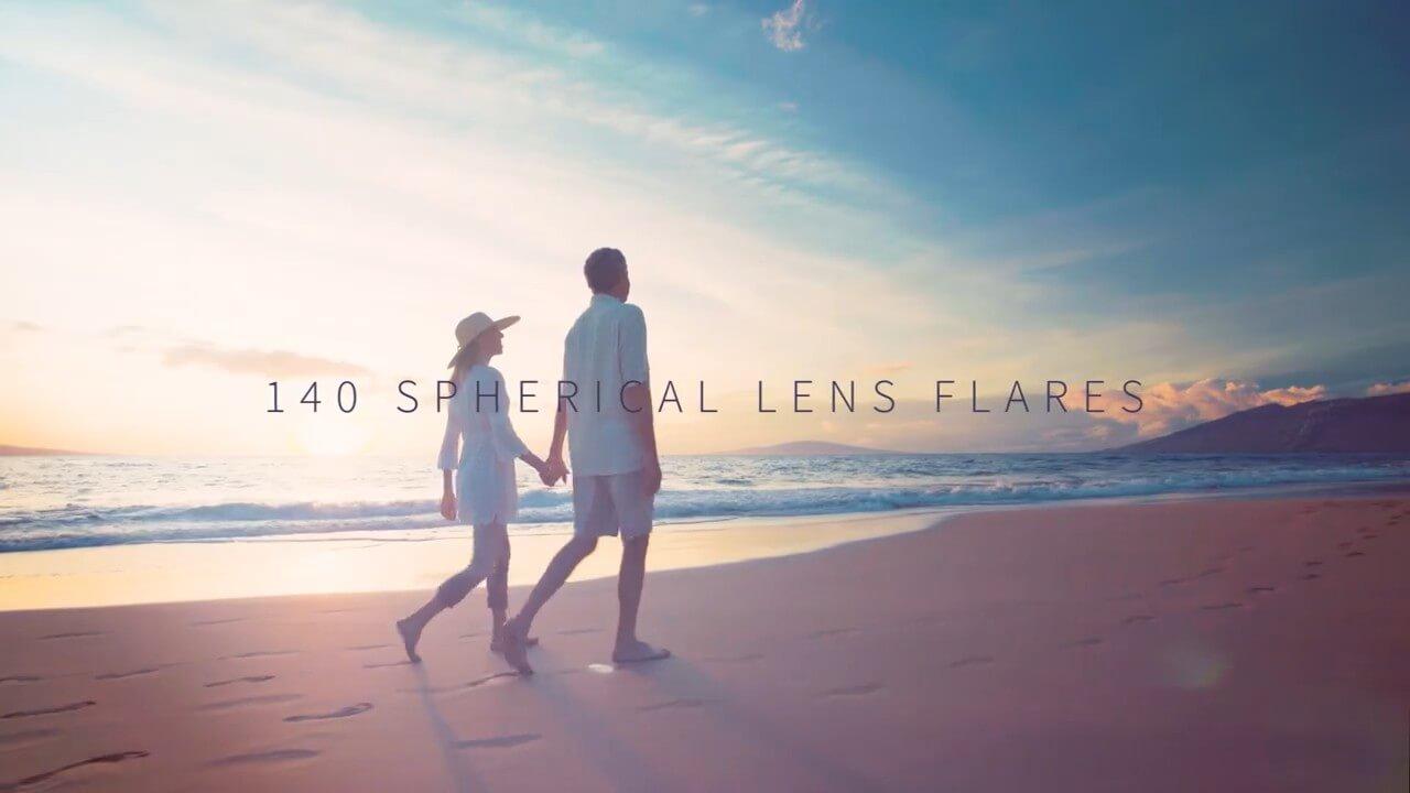 视频素材 140个温暖柔和镜头光晕耀斑光效叠加4K视频素材