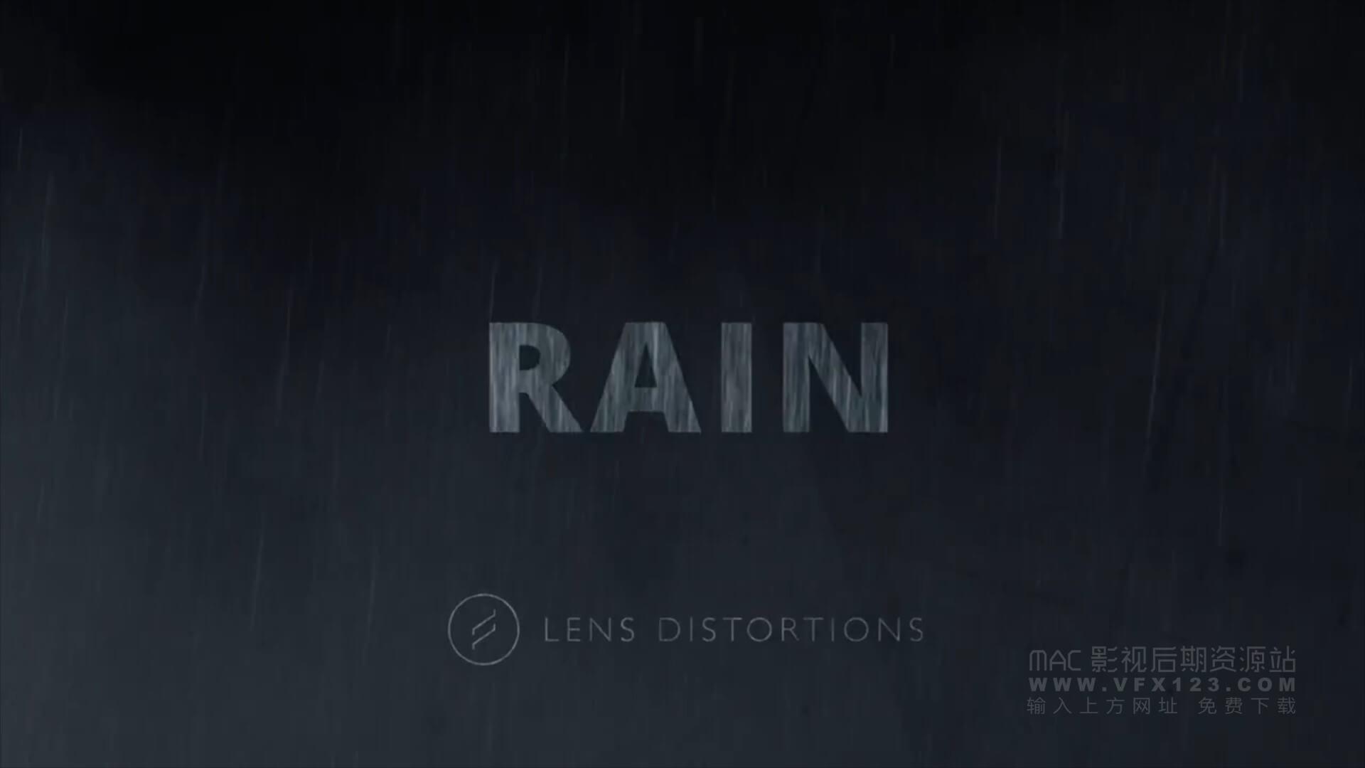 视频素材 25个下雨场景4K视频特效合成素材 Lens Distortions Rain