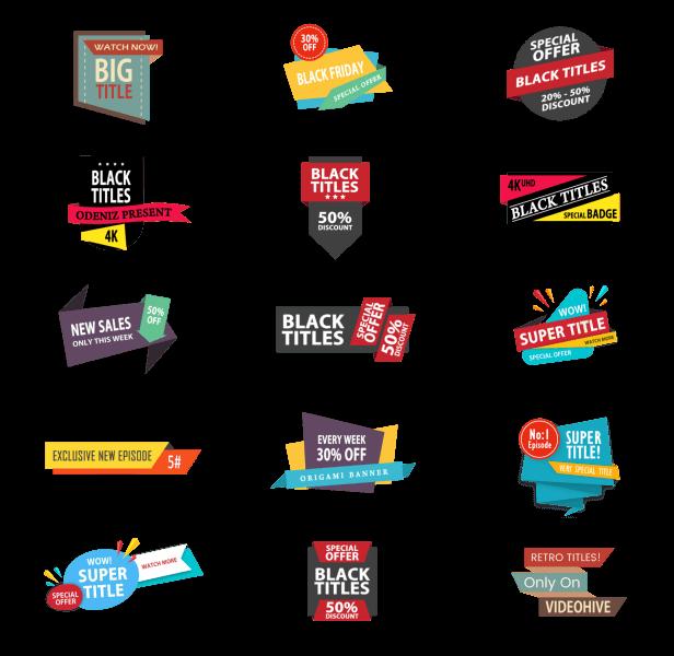 AE模板 50种4K商品促销打折标签标题动画模板