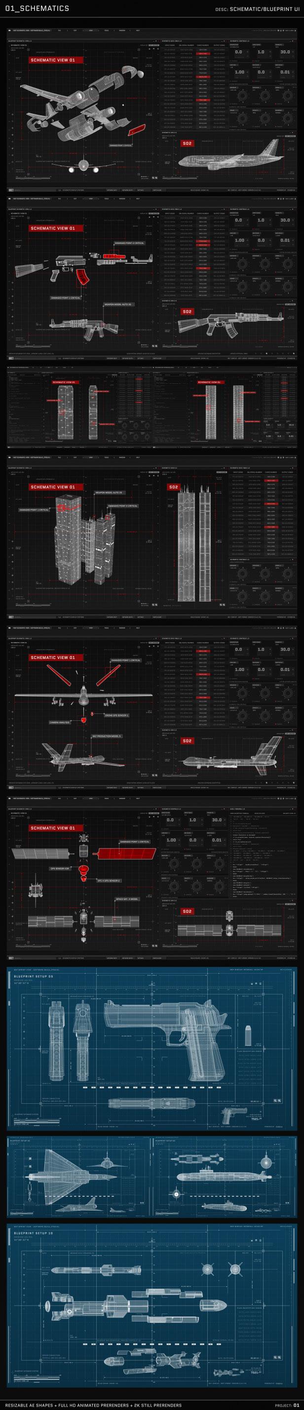 AE模板 HUD动画图形包电影电视游戏UI图形设计元素