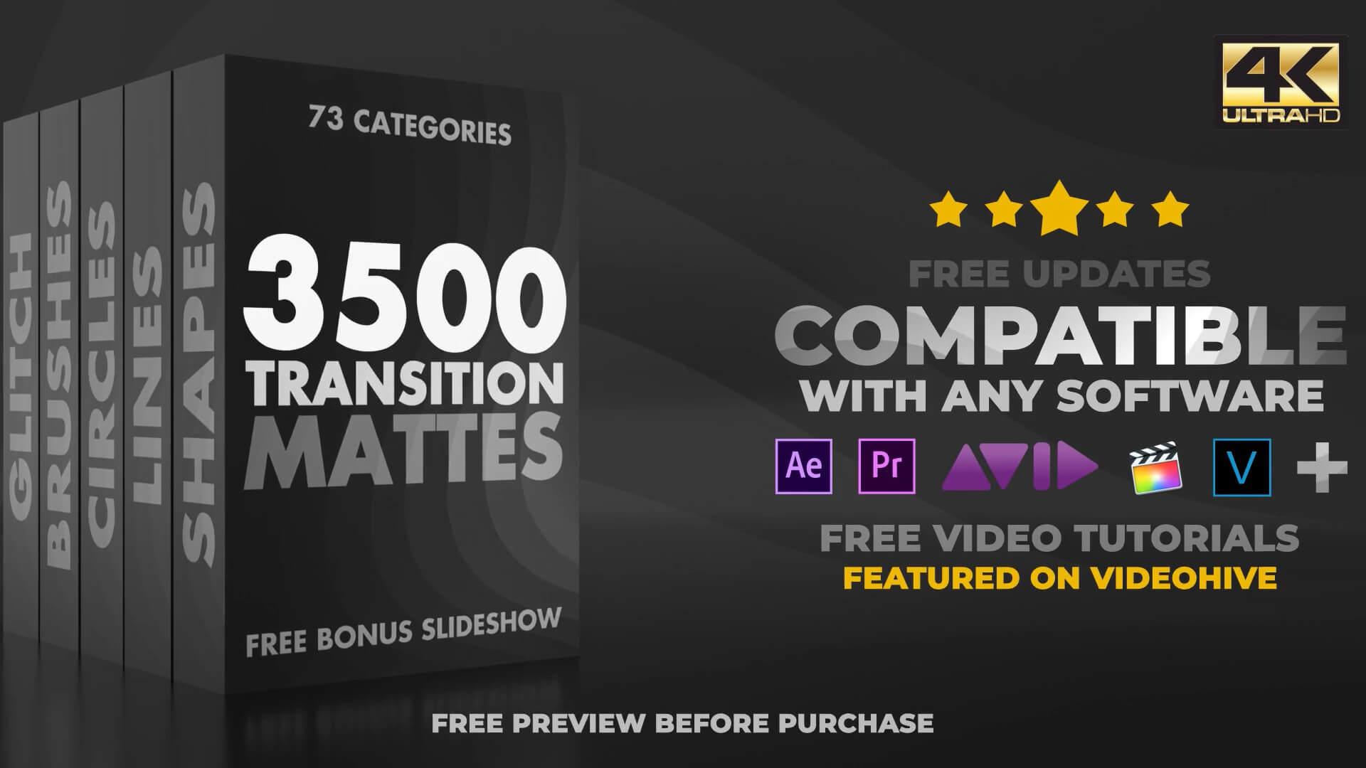 4K转场集合包 3500个流行转场 MP4格式适用各类视频软件