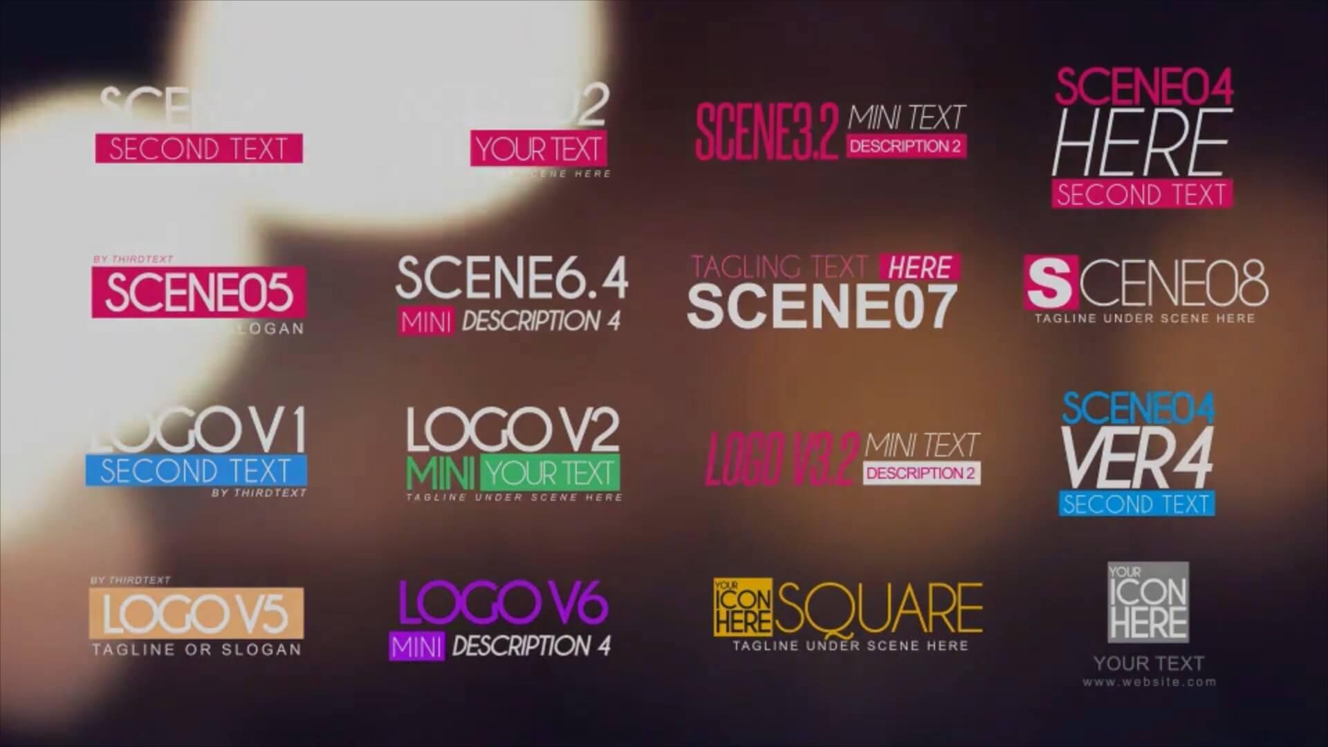 AE模板 17个时尚简洁标题文字排版LOGO展示动画