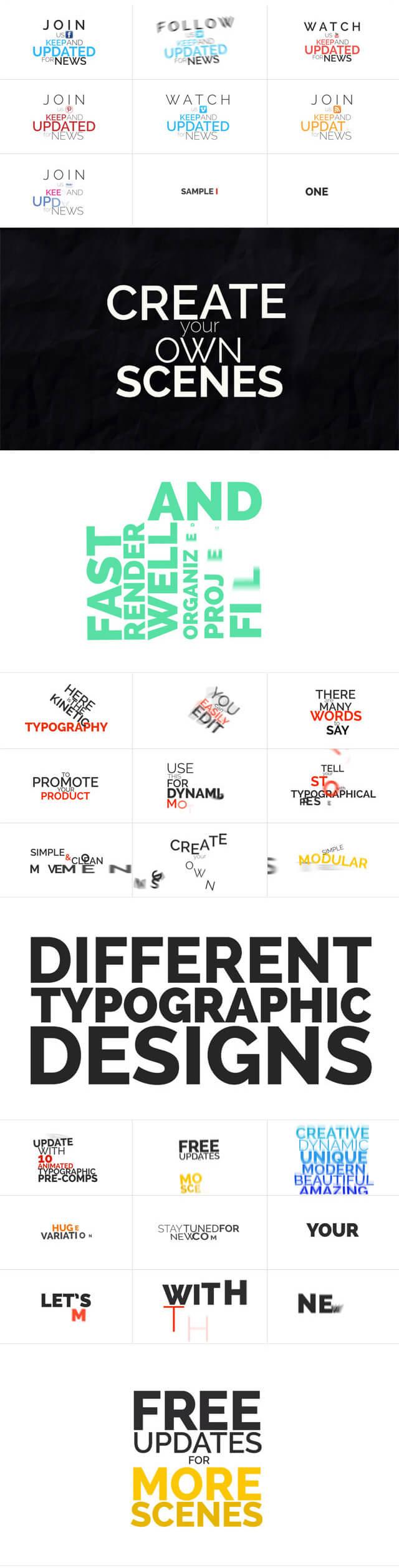 AE模板 105个超酷动感文字标题排版动画 Kinetic Typographic Title Pack