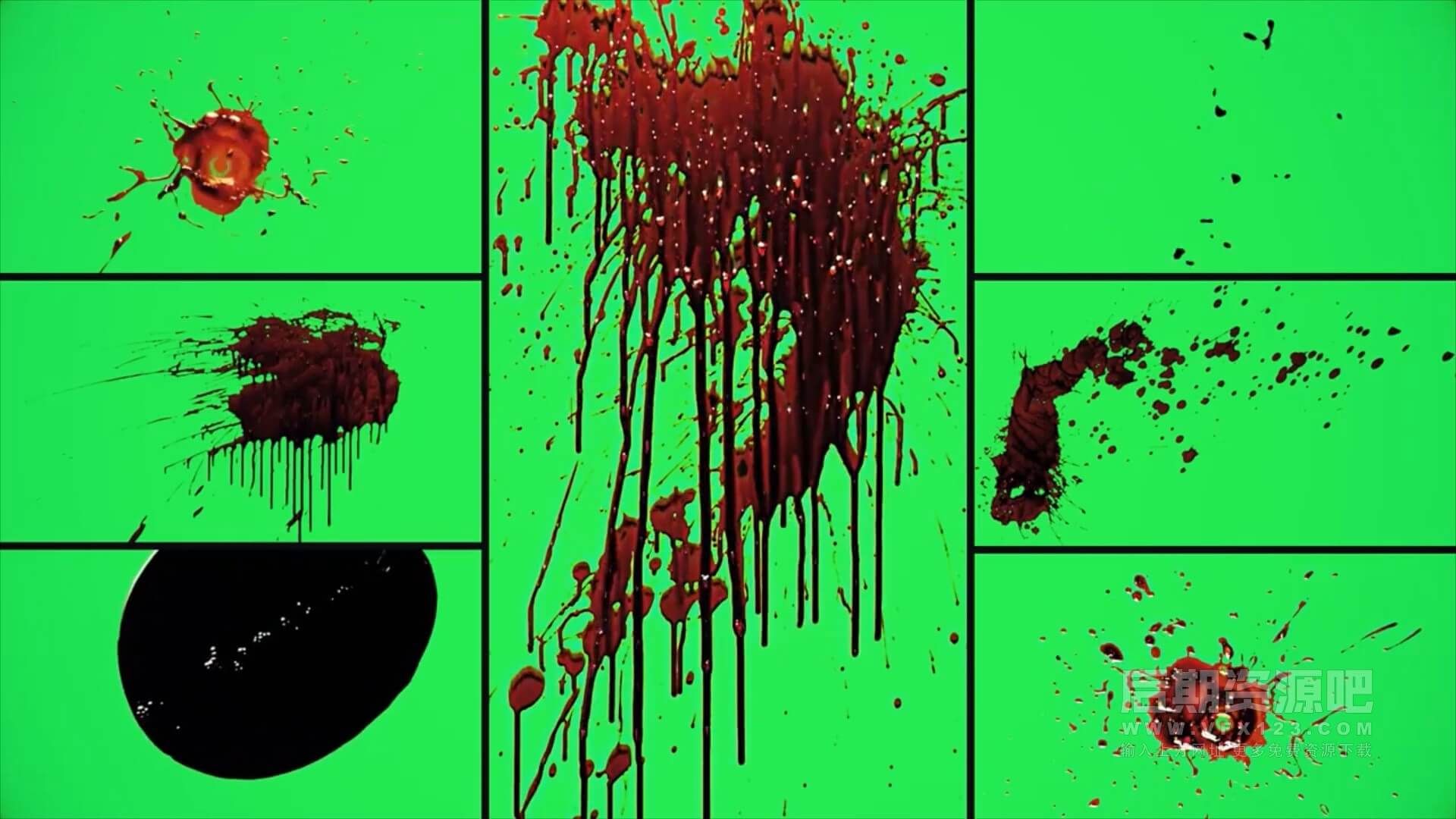 特效合成视频素材 294个4K实拍血液喷血溅流血血迹绿幕   MAC影视后期资源站