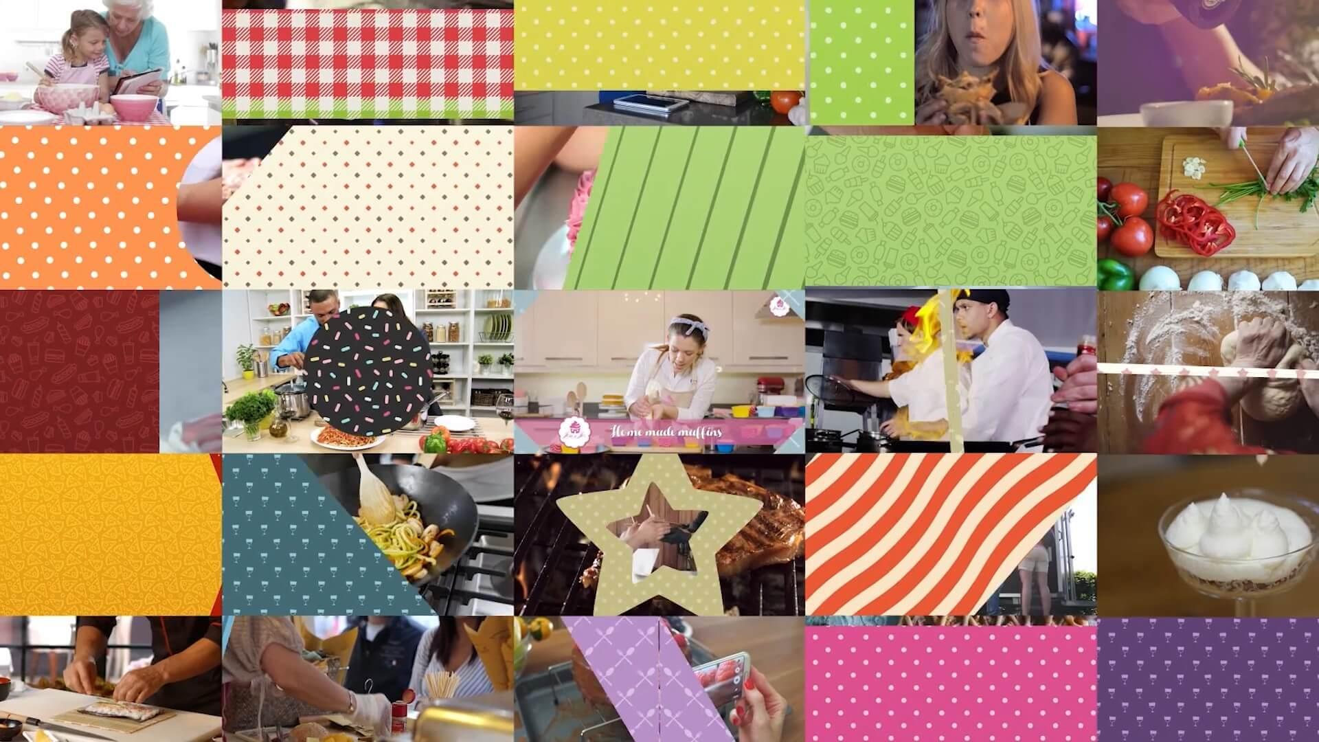 视频素材 121个美食Vlog栏目包装背景转场字幕条卡通角色动画 美食博主必备