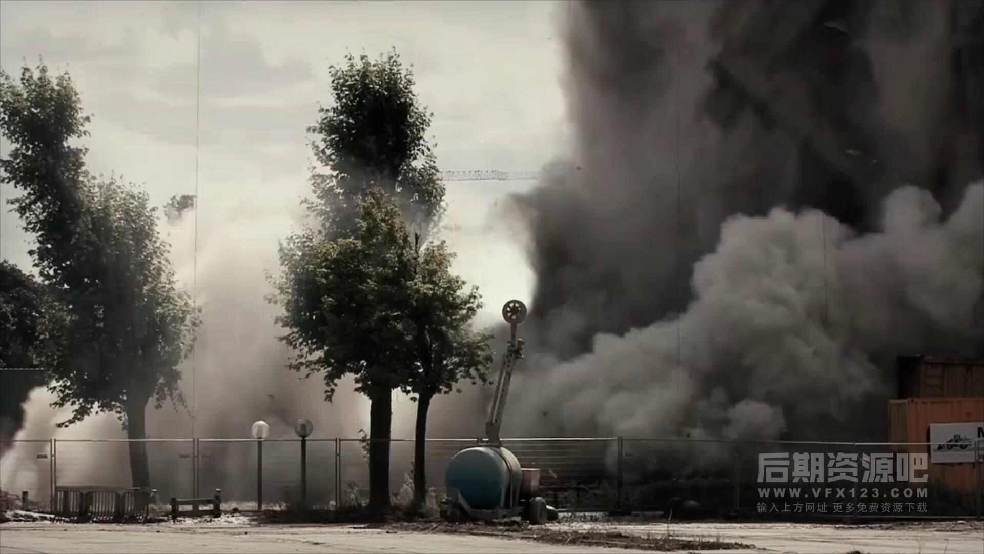 特效合成视频素材 80个4K房屋倒塌塌方碎石块绿幕 collapse