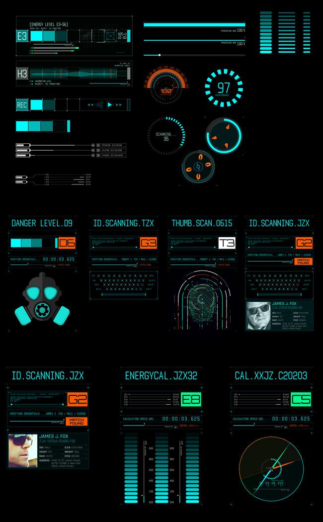 AE模板 500个HUD科技感银河系军事雷达武器动态UI元素包