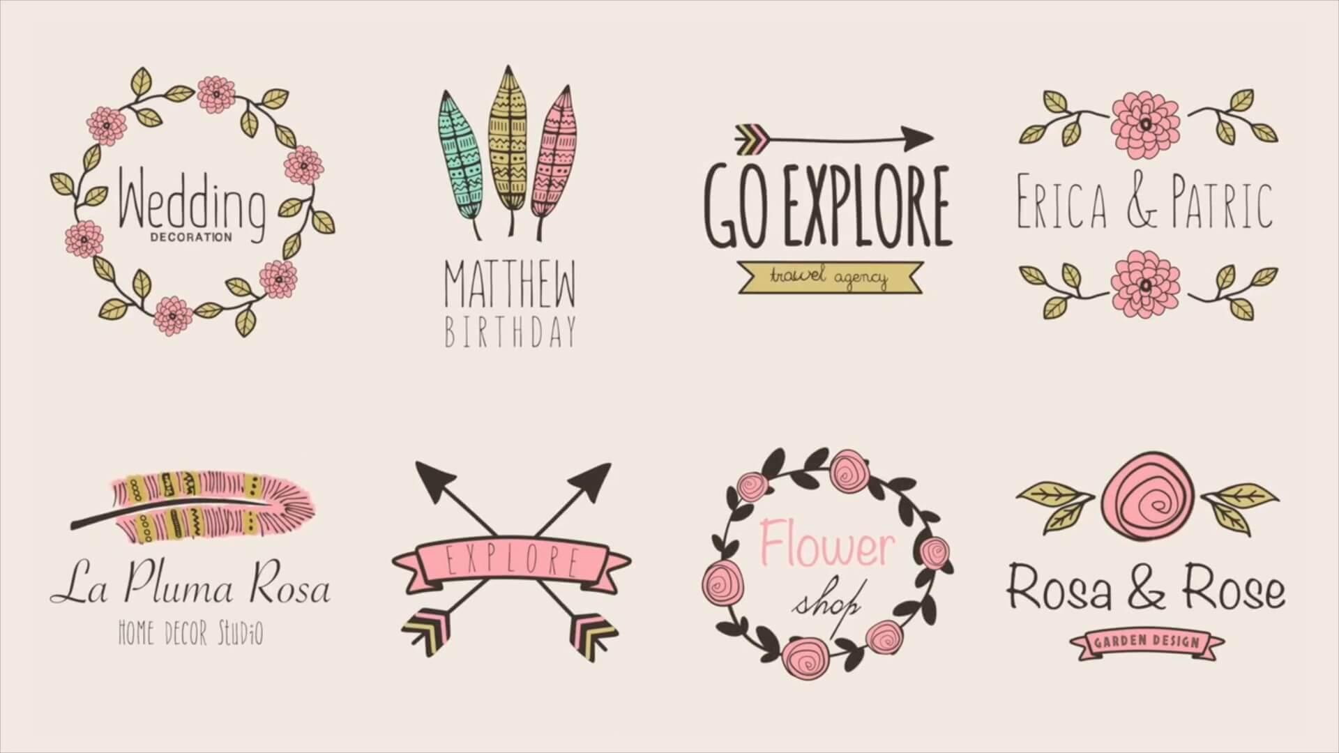 FCPX标题插件 浪漫有趣卡通手绘花朵标题模板 适用婚礼纪念庆典 vlog常用
