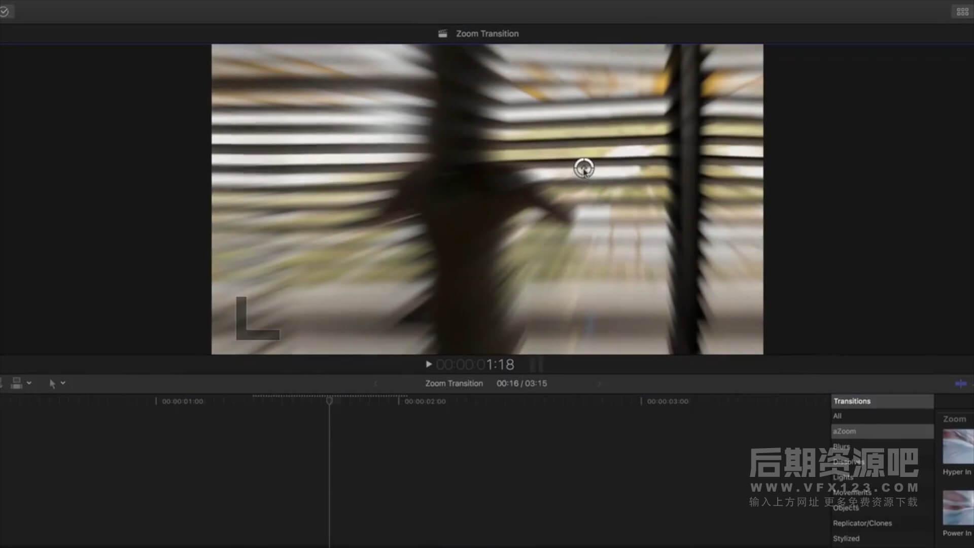 FCPX转场插件 94个摄像机镜头扭曲变形推拉缩放切换动感模糊 vlog常用转场