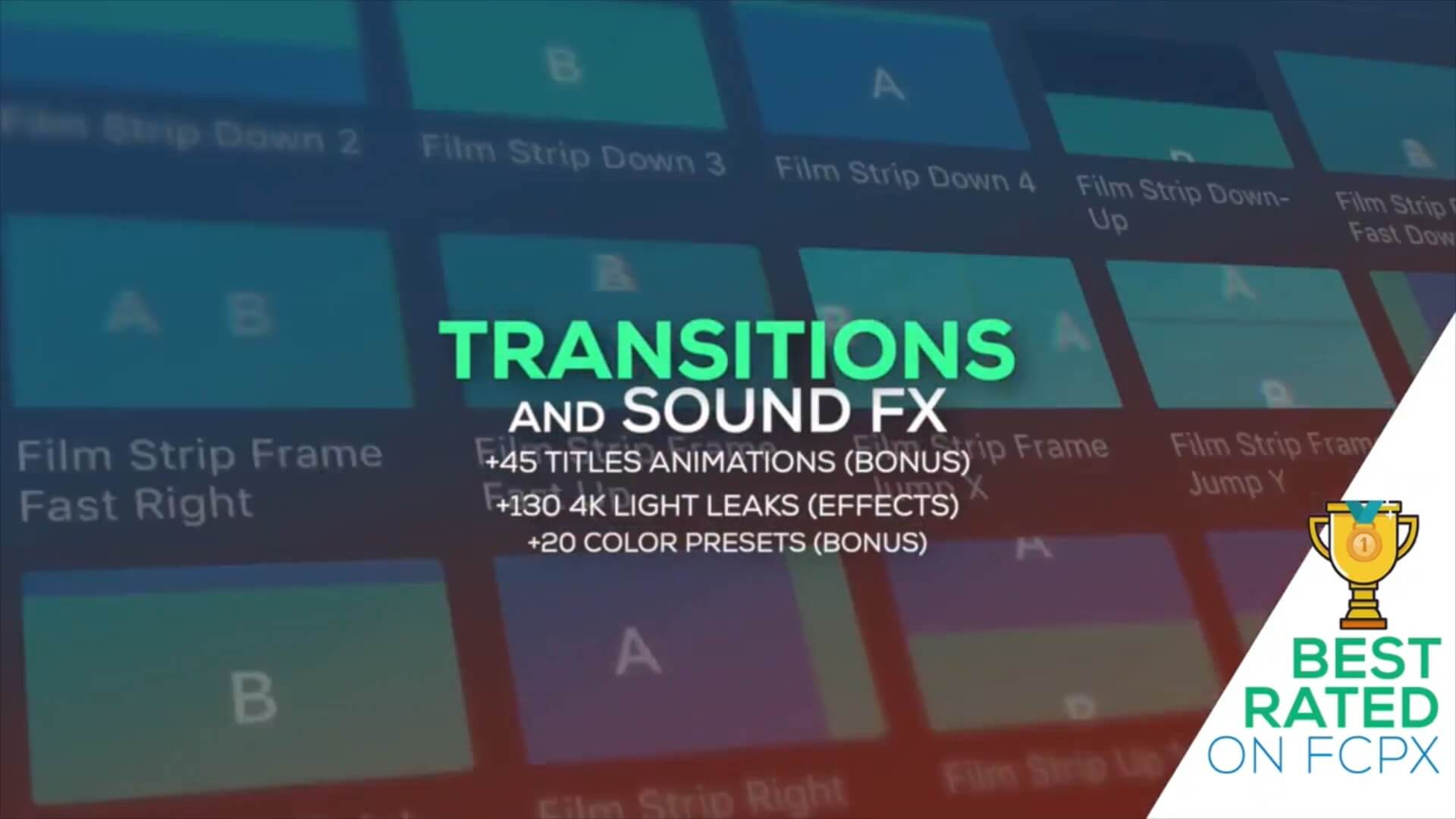 FCPX插件 803个冲击缩放平移滑动扭曲水墨炫光转场+音效素材 v6