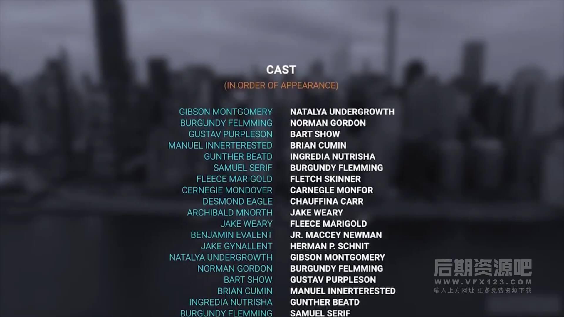 fcpx插件 电影片尾演职员滚动字幕模板 film credits pack | mac影视