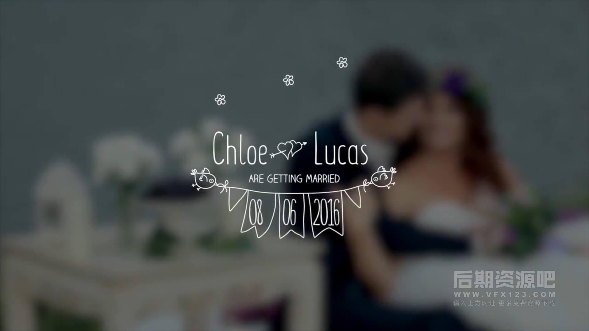 FCPX标题插件 8个卡通手绘婚礼人名文字标题动画字幕预设 Wedding Titles
