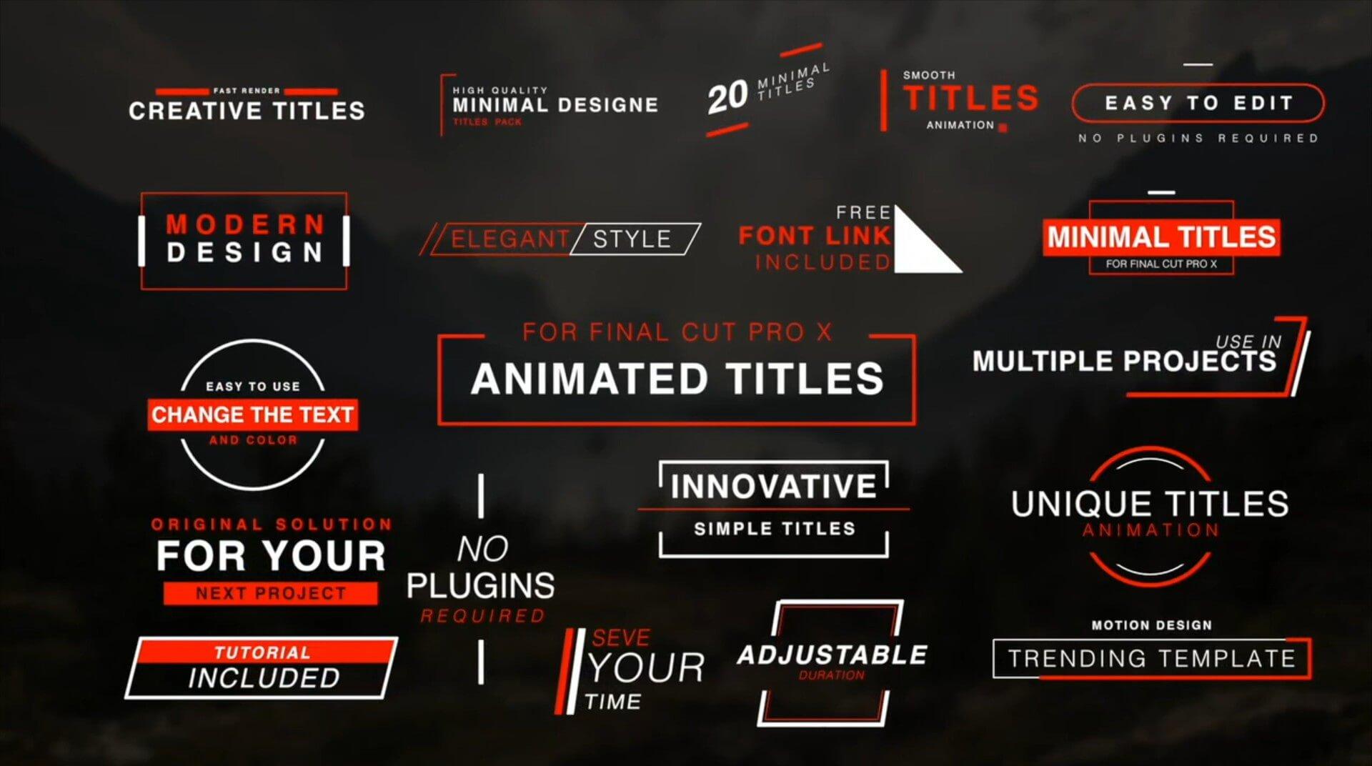 FCPX标题插件 20个4K简约时尚字幕模板 Minimal Titles