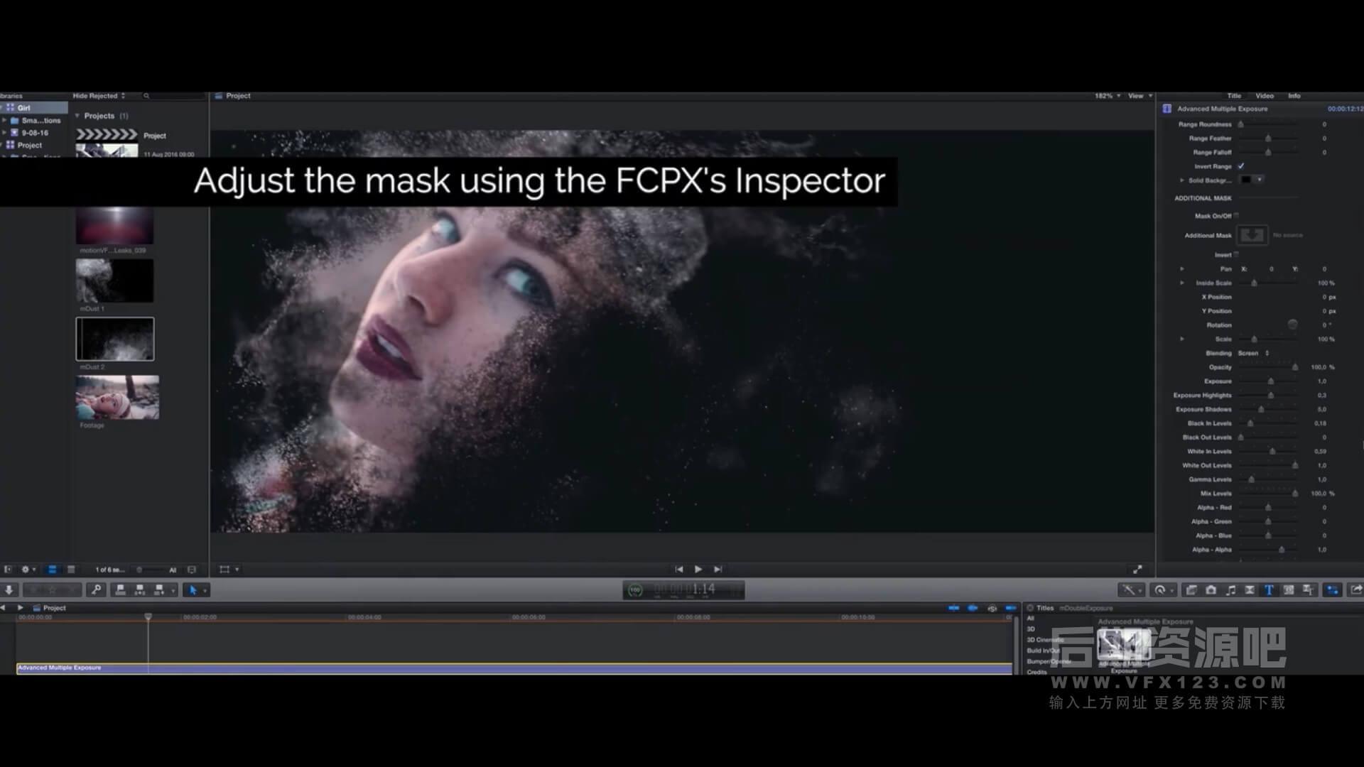 FCPX插件 画面多重曝光视频叠加视觉风格化效果 mDouble Exposure + 使用教程