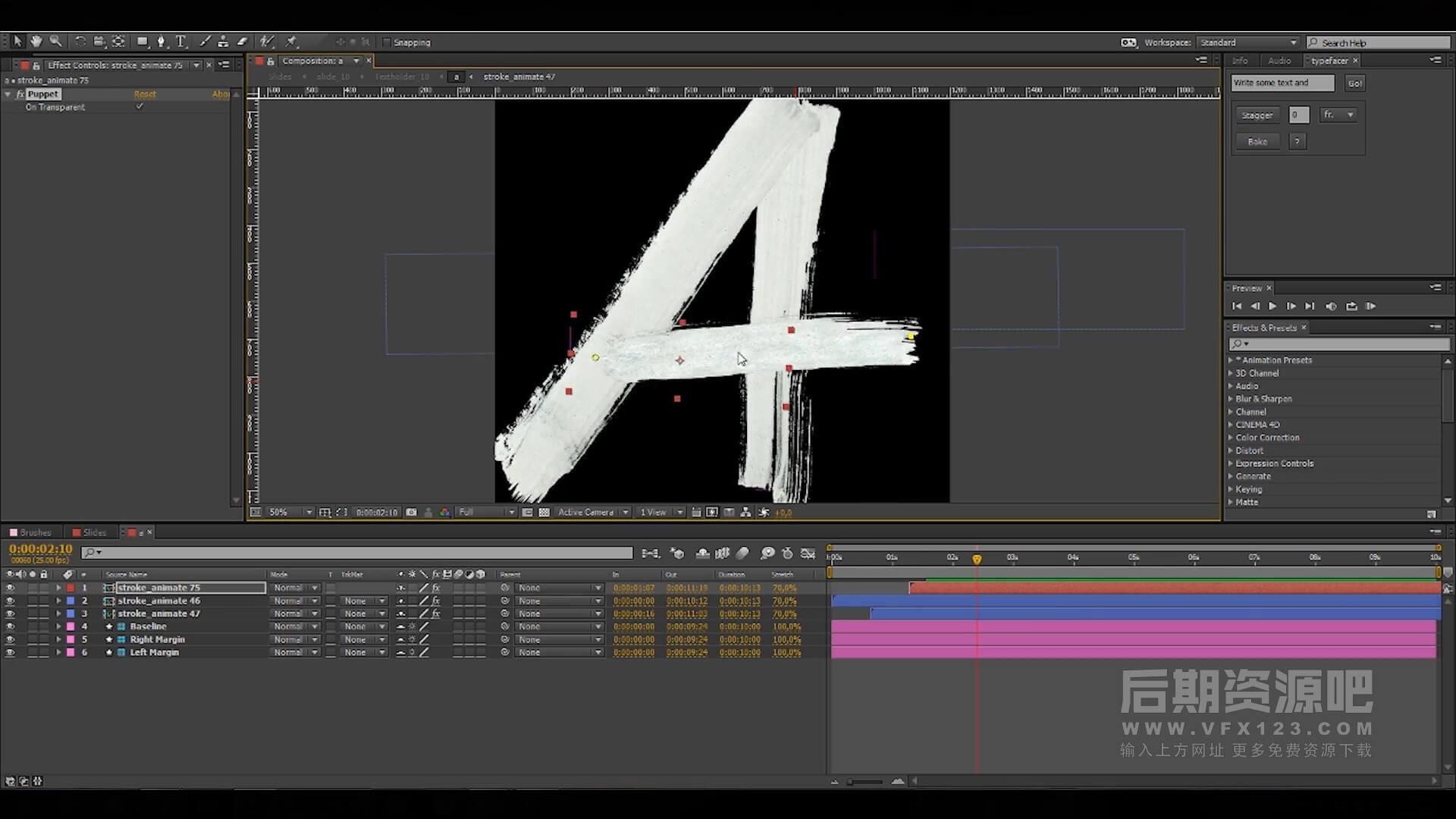 AE模板 英文手写笔刷笔迹 Vlog标题制作常用工具 brush pack