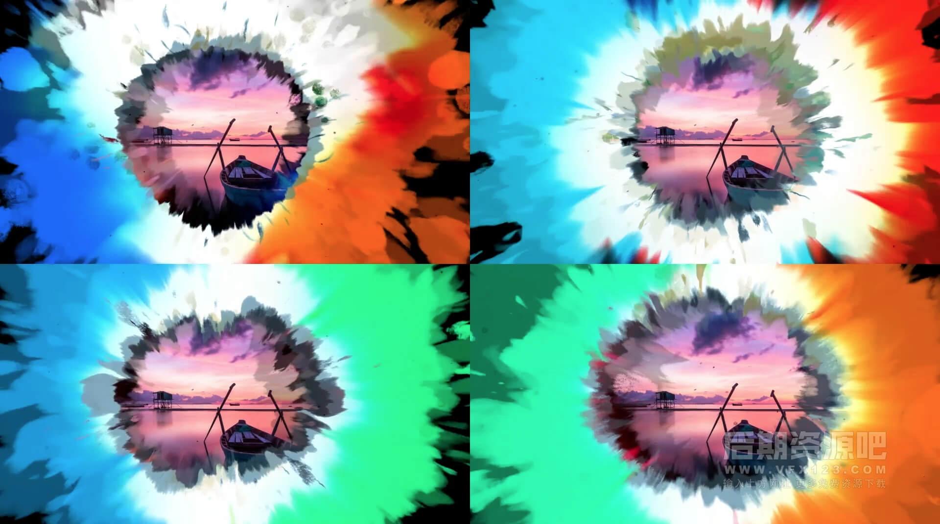 Ae模板 100+4K彩色水墨过渡转场 Vlog常用转场效果 Color Ink Transitions