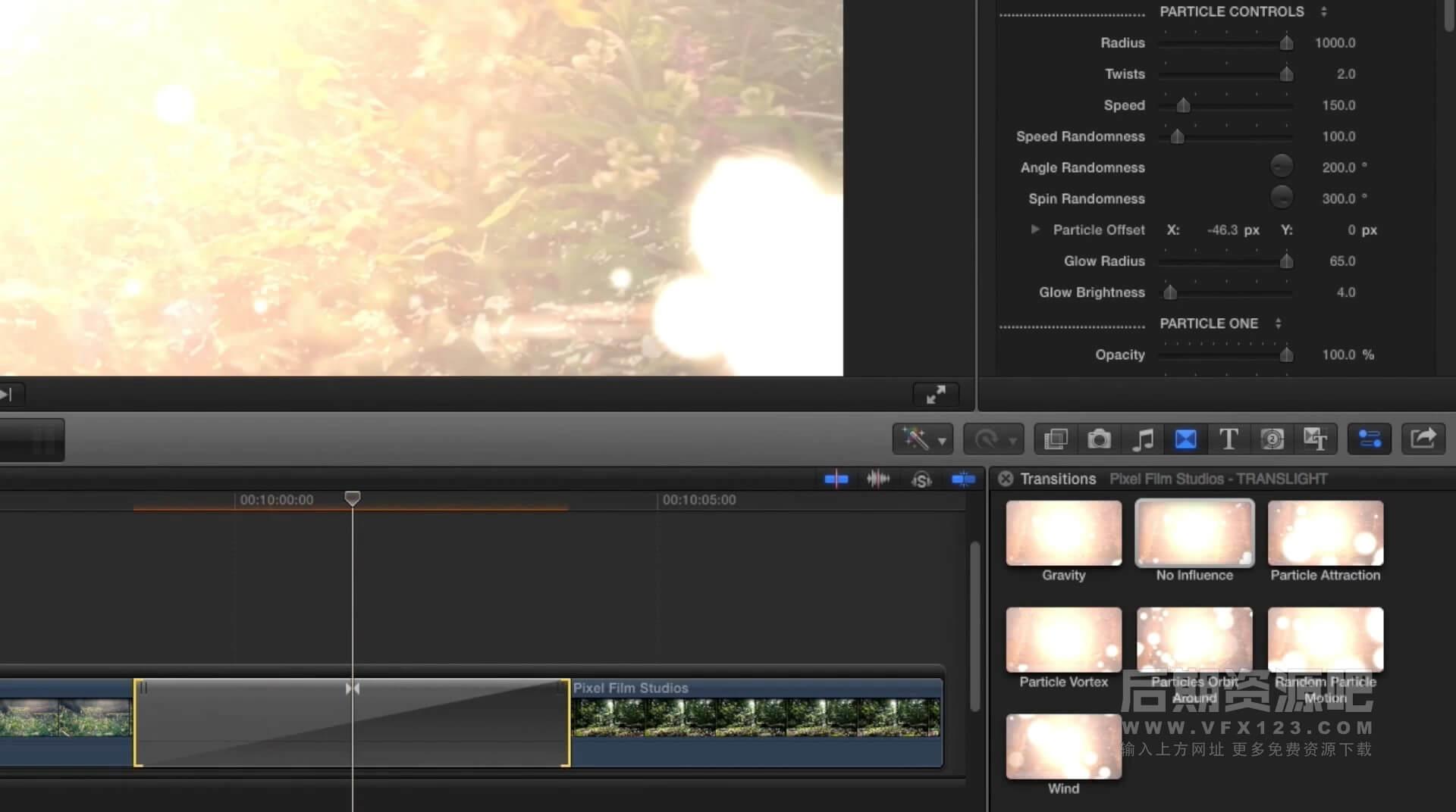fcpx插件 镜头光斑粒子炫光效果过渡转场 Translight | MAC影视后期资源站